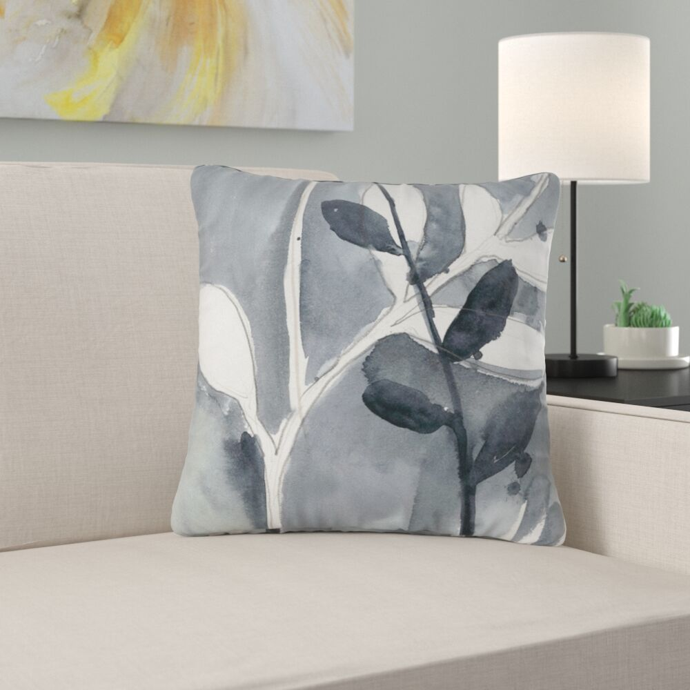Hayman Grayscale Branches II Throw Pillow Size: 18