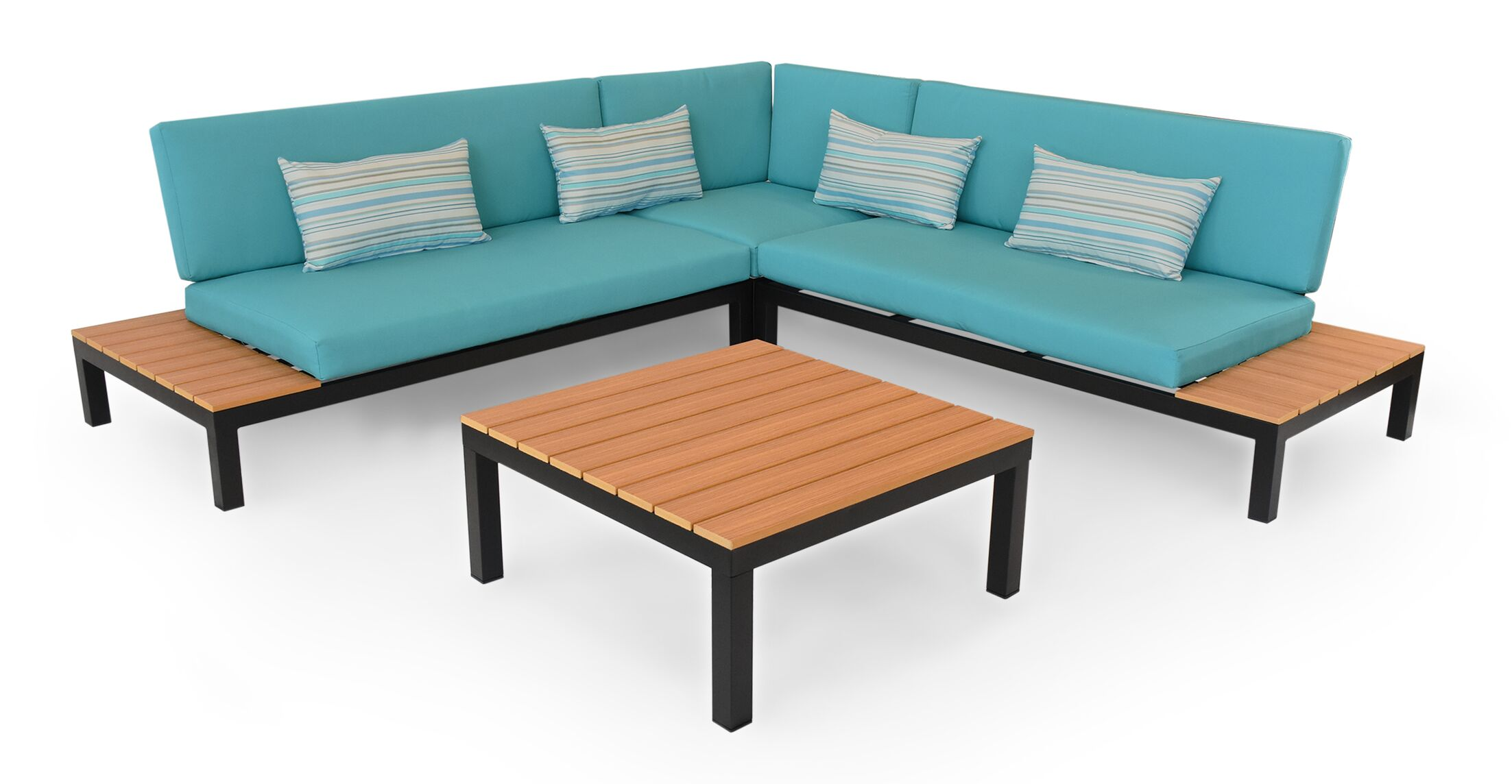 Nelson Outdoor Furniture Modern Patio Sofa with Cushions Finish: Black Metal, Fabric: Turquoise