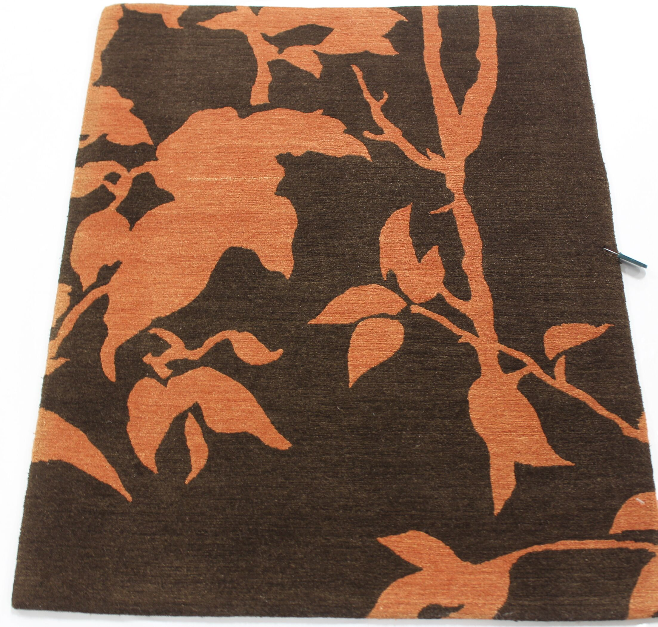 One-of-a-Kind Franconia Tibetan Hand-Knotted Brown/Orange Area Rug