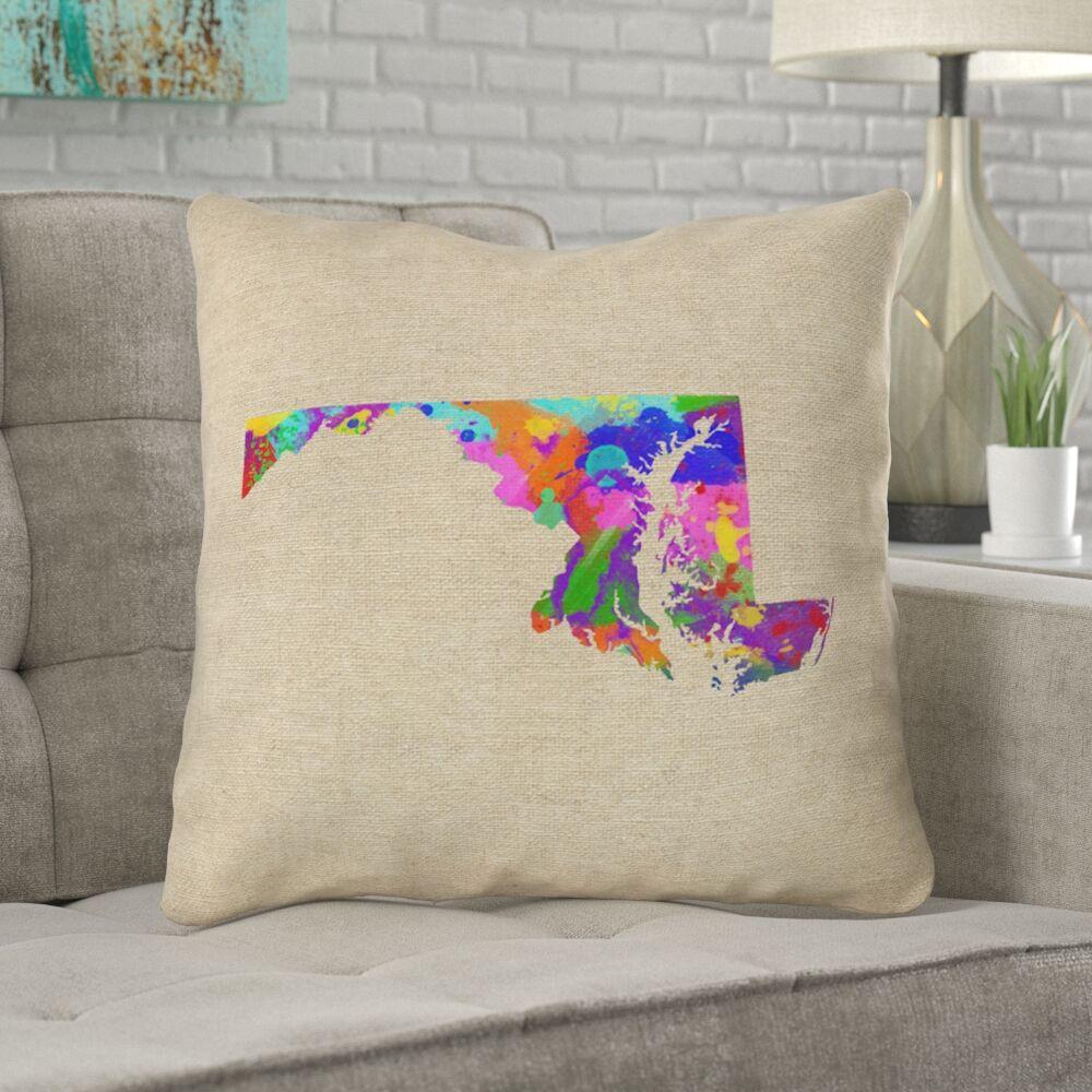 Austrinus Maryland Watercolor Outdoor Throw Pillow Size: 20