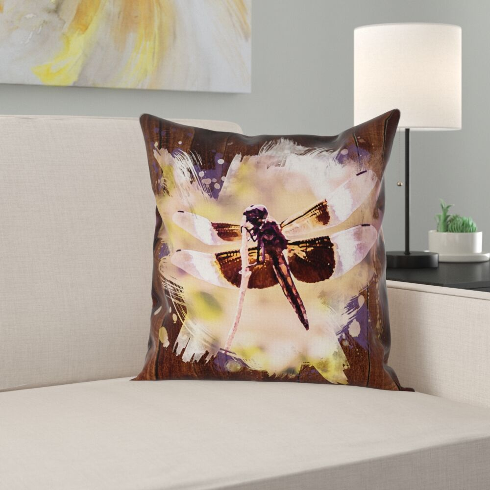 Hansard Watercolor Dragonfly Double Sided Print Square Pillow Cover Size: 16