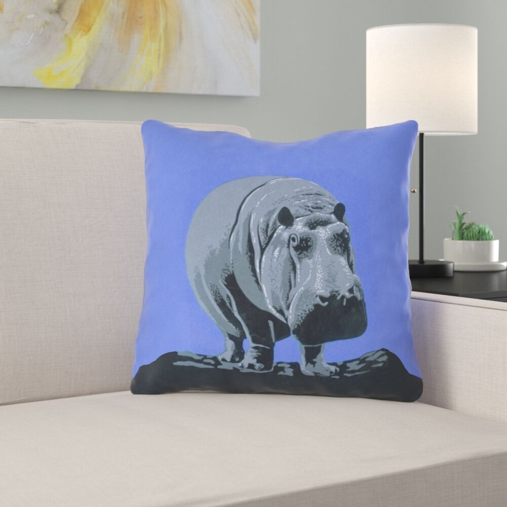 Hansard Vintage Hippo Zoo Poster Outdoor Throw Pillow Size: 16