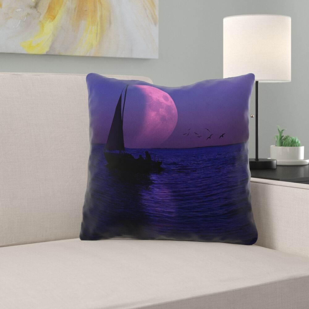 Jada Moon and Sailboat Throw pillow with Concealed Zipper Size: 14
