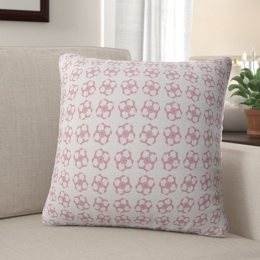 Jamarcus Geometric Flower Throw Pillow Size: 16