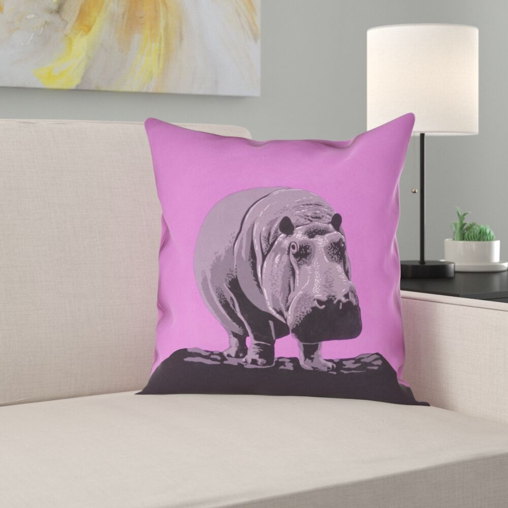Hansard Vintage Hippo Zoo Poster Pillow Cover with Zipper Size: 14