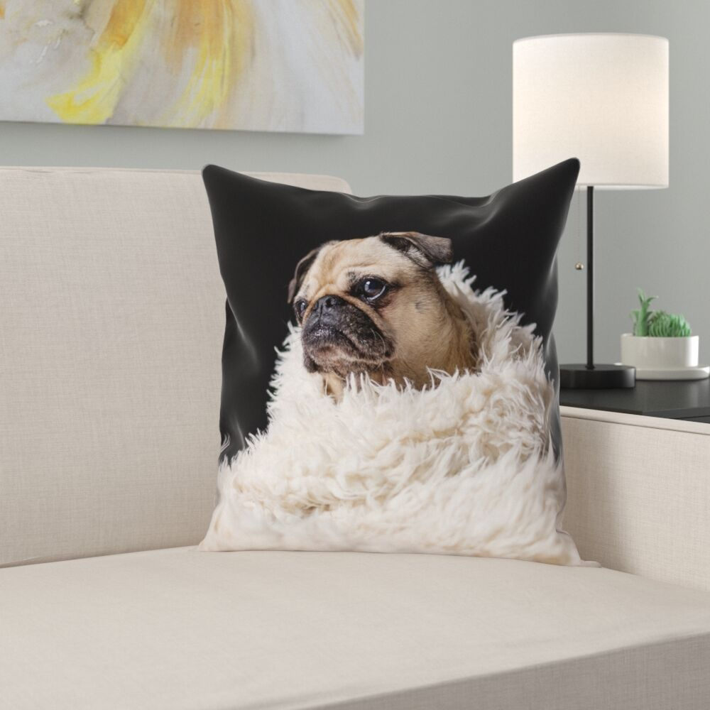 Karlos Pug in Blanket Square Pillow Cover Size: 18