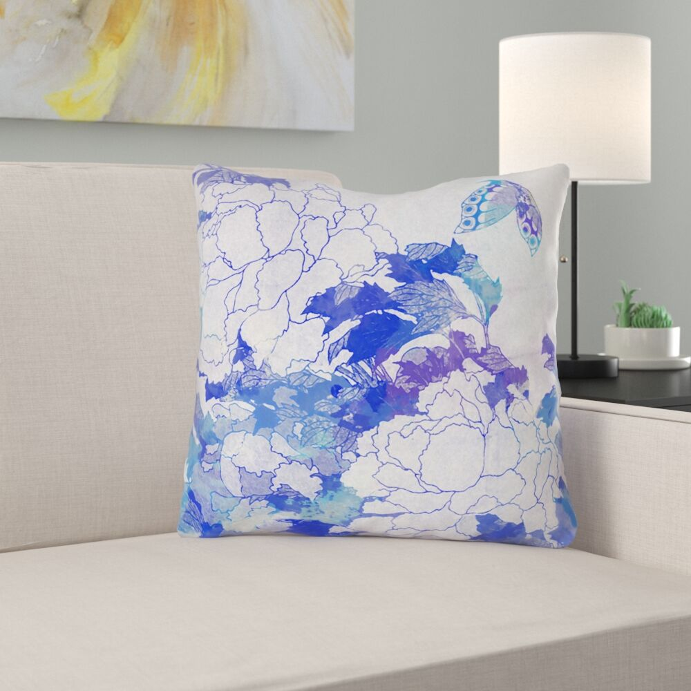 Raritan Contemporary Watercolor Peonies and Butterfly Square Throw Pillow Size: 18