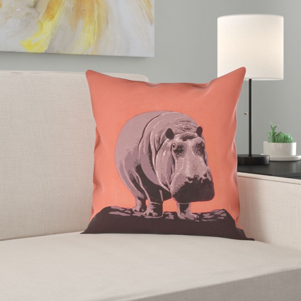 Hansard Vintage Hippo Zoo Poster Square Pillow Cover Size: 26