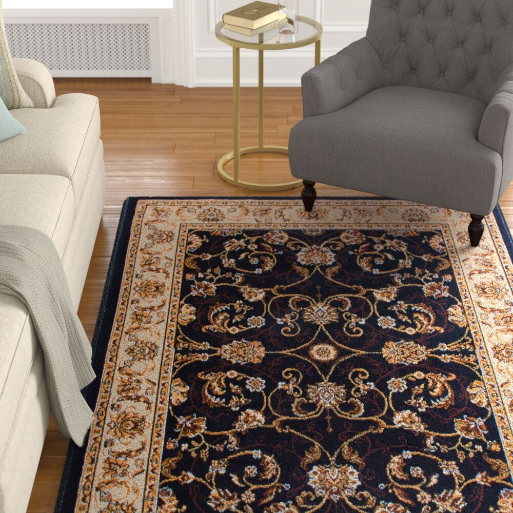 Lilly Traditional Border Ebony/Ivory Area Rug Rug Size: Runner 1'9