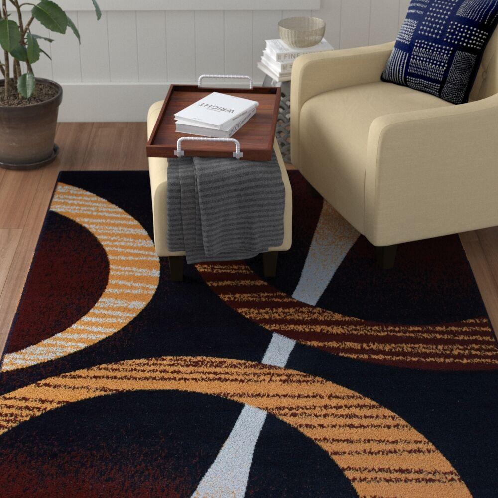 Simona Modern Black Area Rug Rug Size: Rectangle 7'8