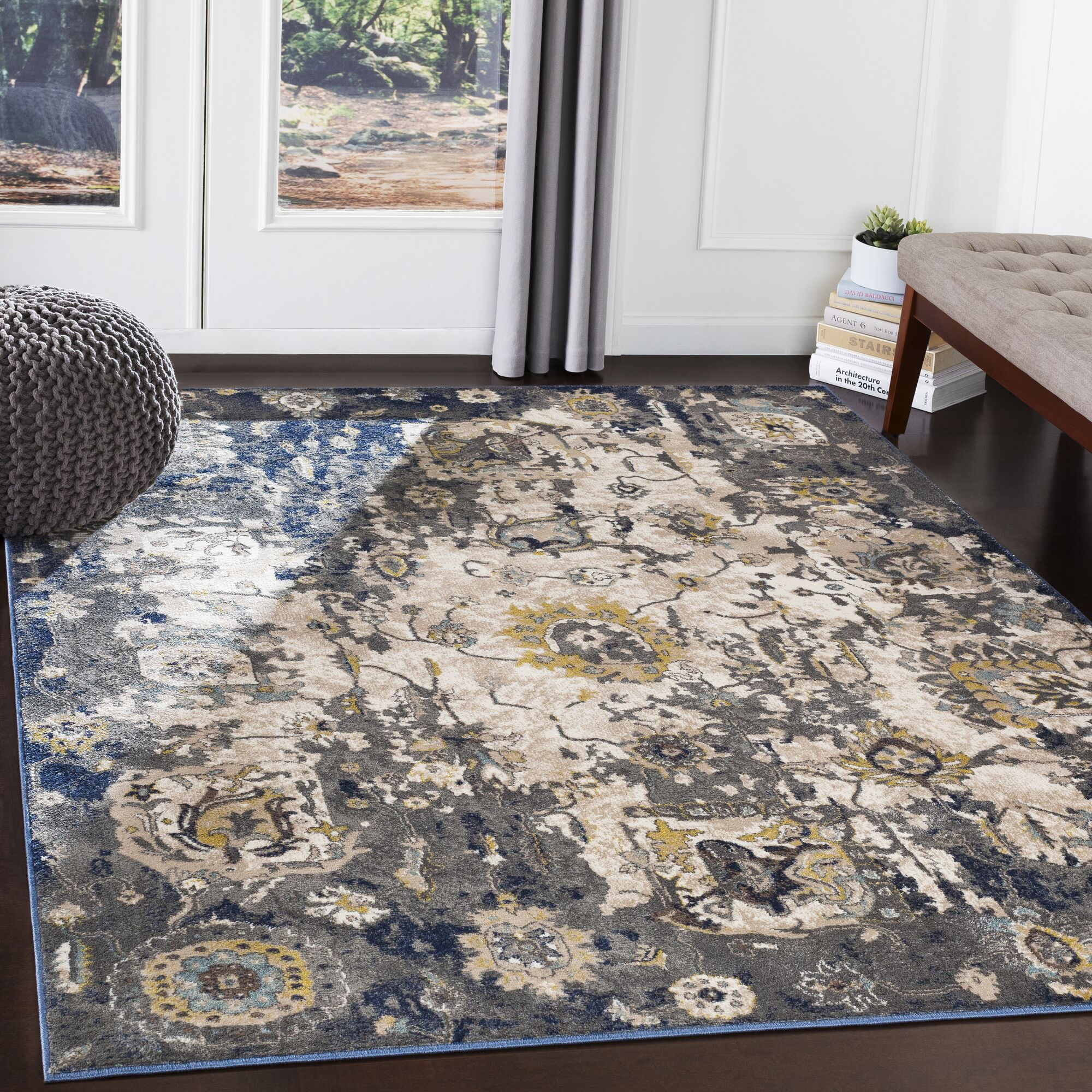 Valmar Distressed Charcoal/Navy Area Rug Rug Size: Rectangle 5'3