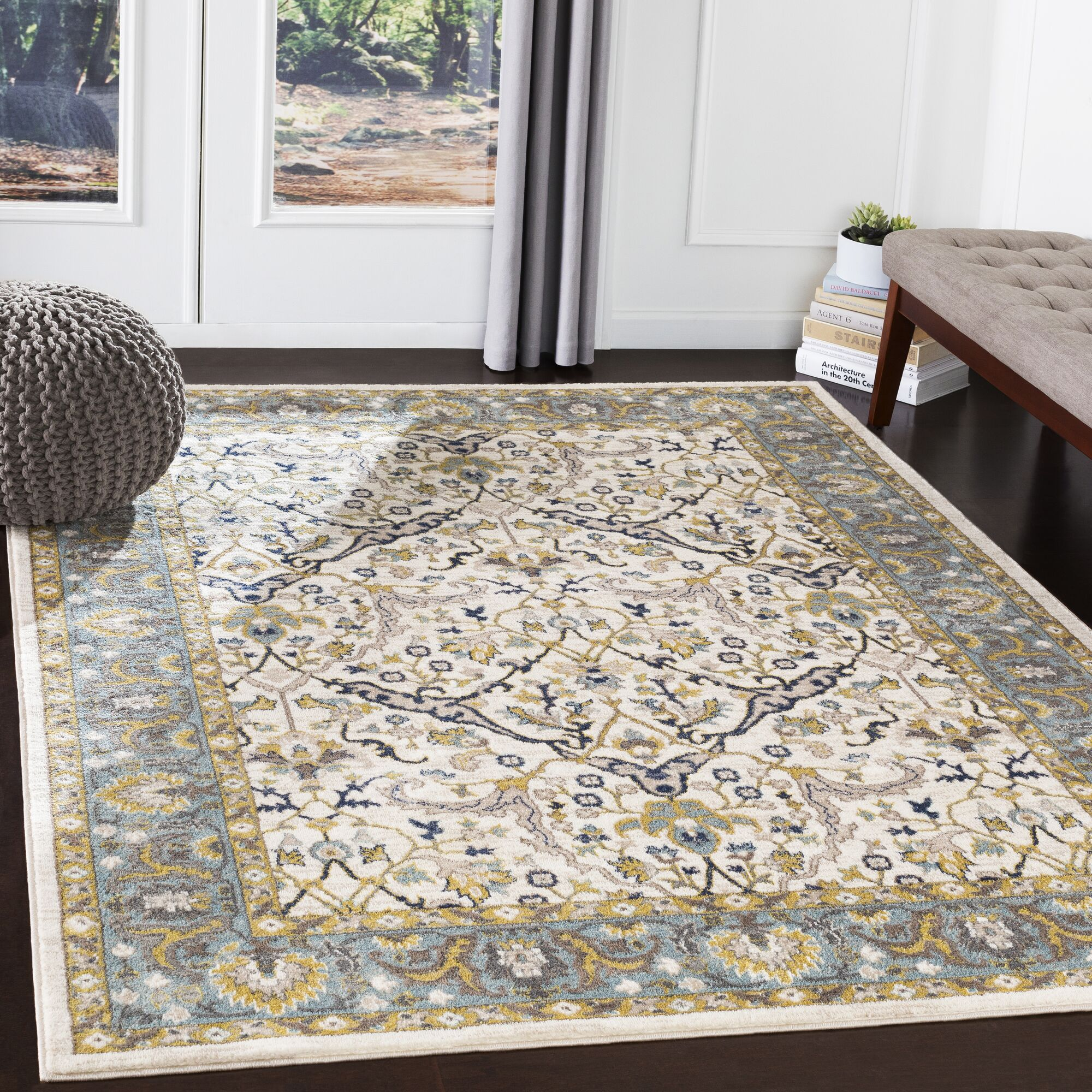 Macclesfield Floral Camel/Navy Area Rug Rug Size: Rectangle 7'10