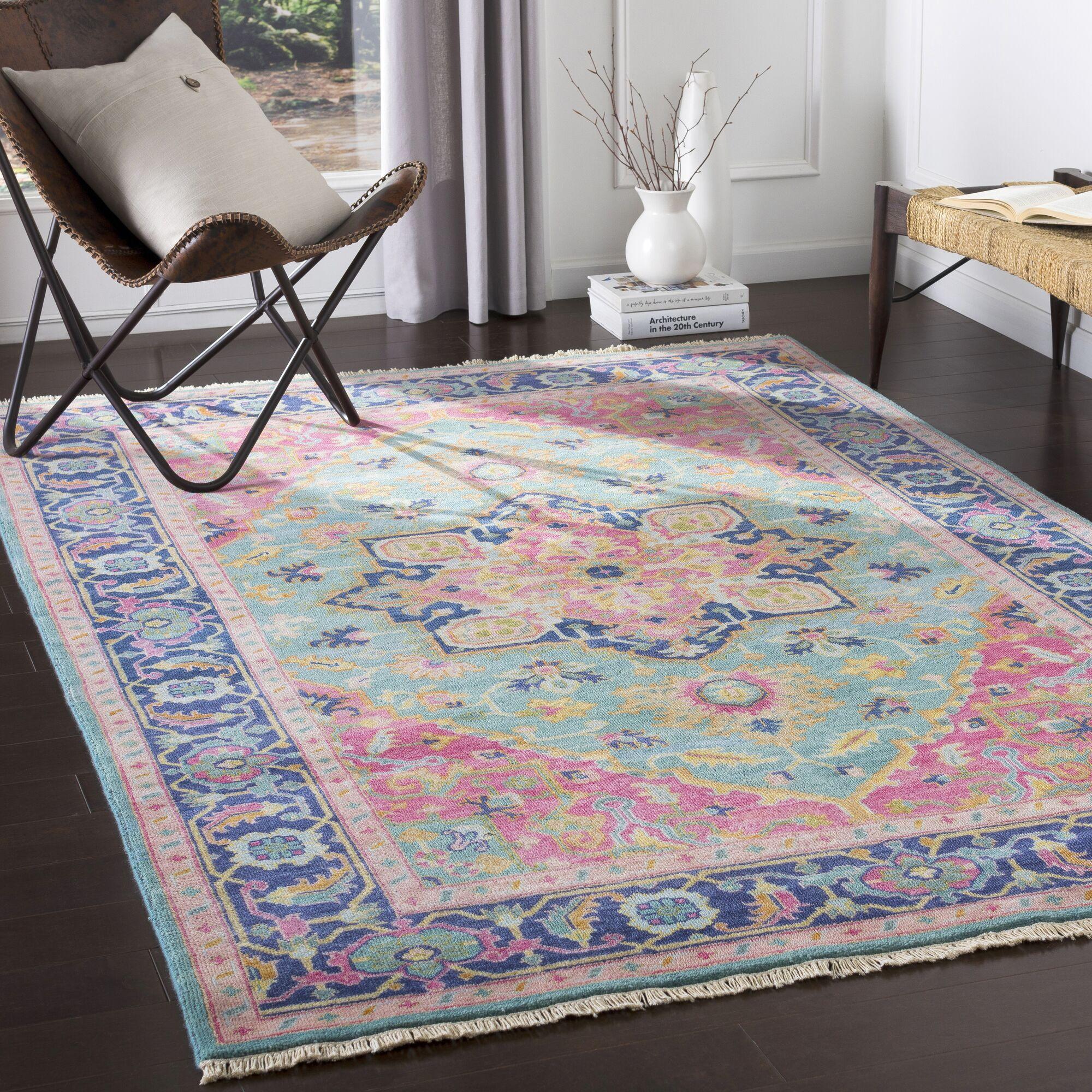 Heerlen Handwoven Wool Teal/Bright Pink Area Rug Rug Size: Rectangle 2' x 3'
