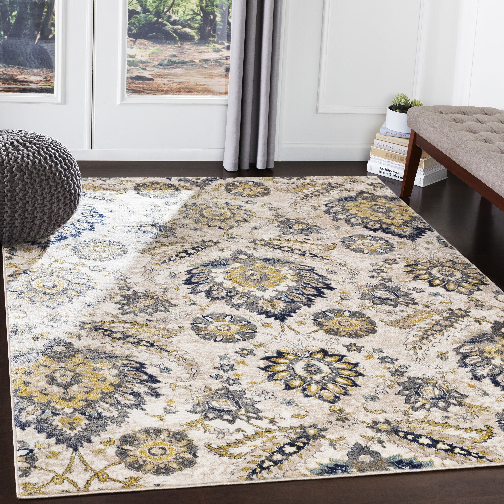Macclesfield Floral Charcoal/Navy Area Rug Rug Size: Rectangle 5'3