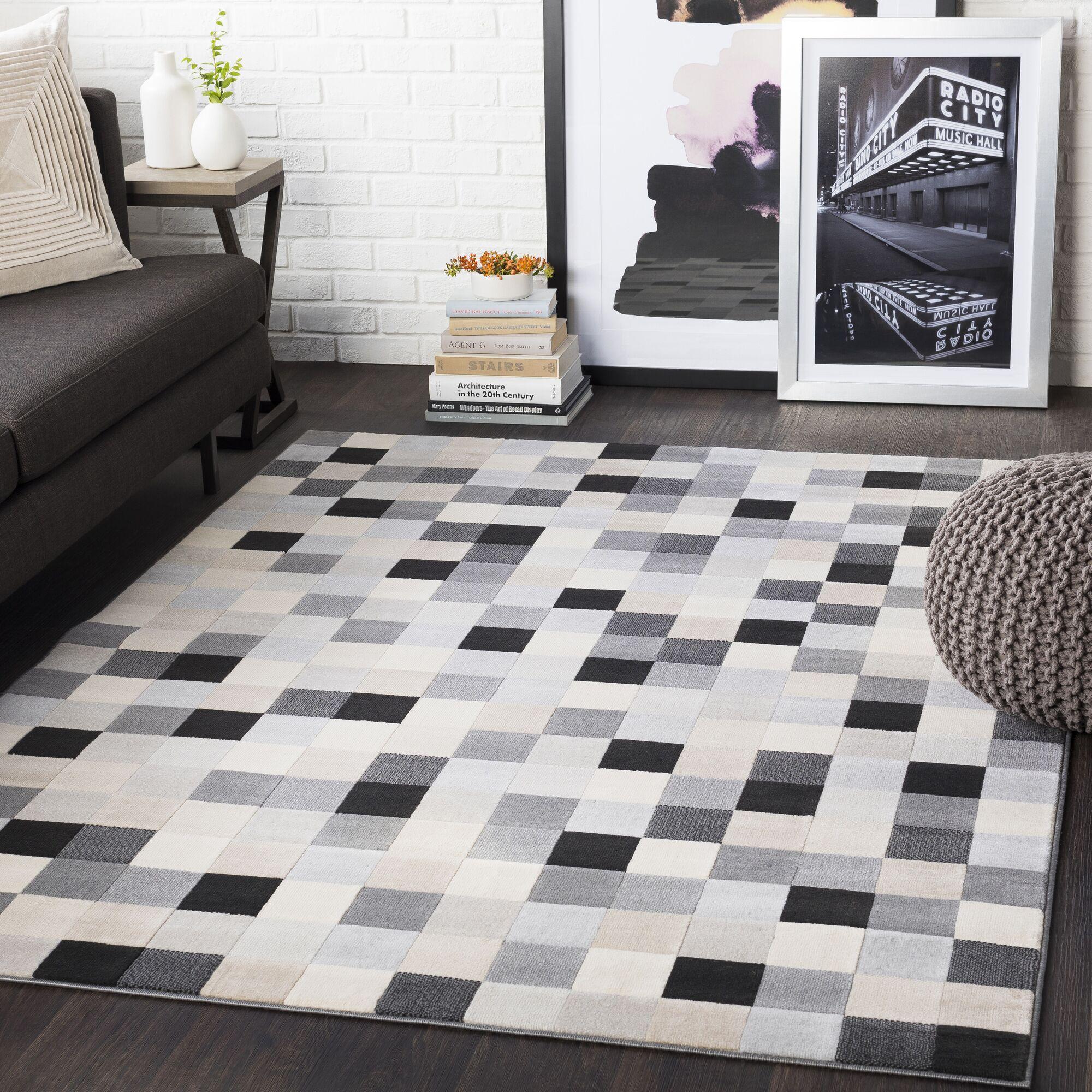 Ashlee Geometric Light Gray/Taupe Area Rug Rug Size: Rectangle 9'3