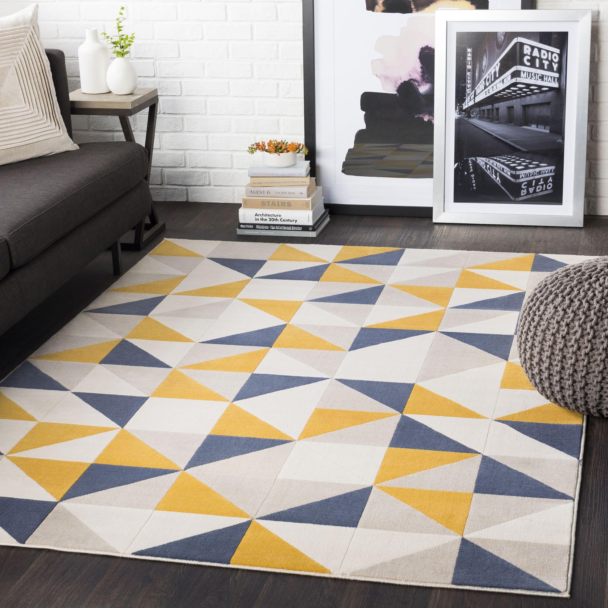 Huerta Geometric Mustard/Charcoal Area Rug Rug Size: Rectangle 5'3