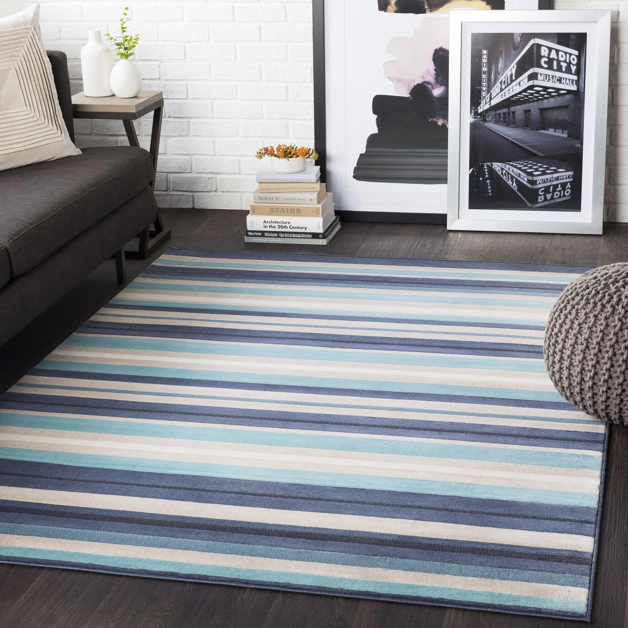 Bahr Striped Aqua/Charcoal Area Rug Rug Size: Rectangle 7'10
