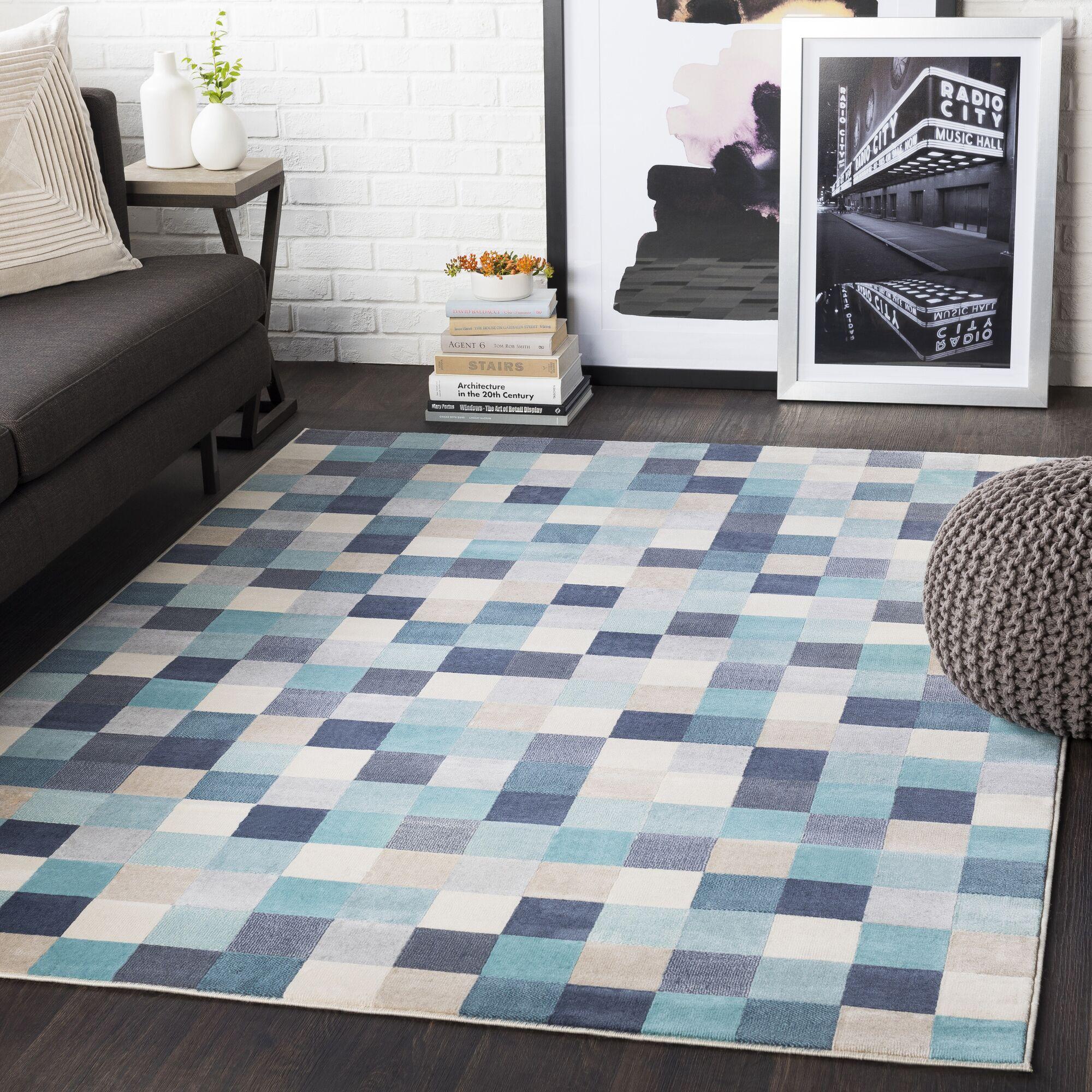 Ashlee Geometric Aqua/Charcoal Area Rug Rug Size: Rectangle 5'3