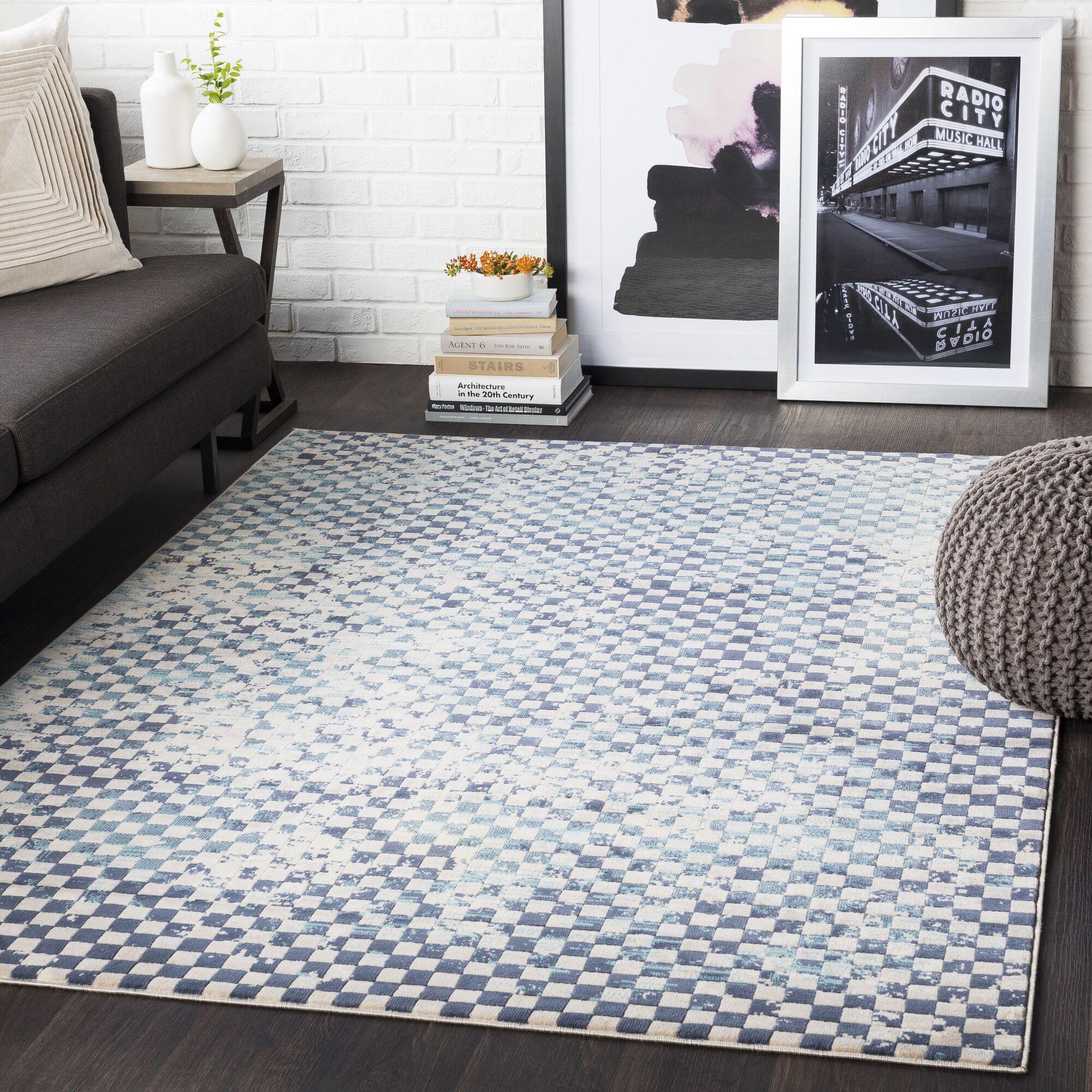 Ferreira Distressed Geometric Aqua/Charcoal Area Rug Rug Size: Rectangle 5'3