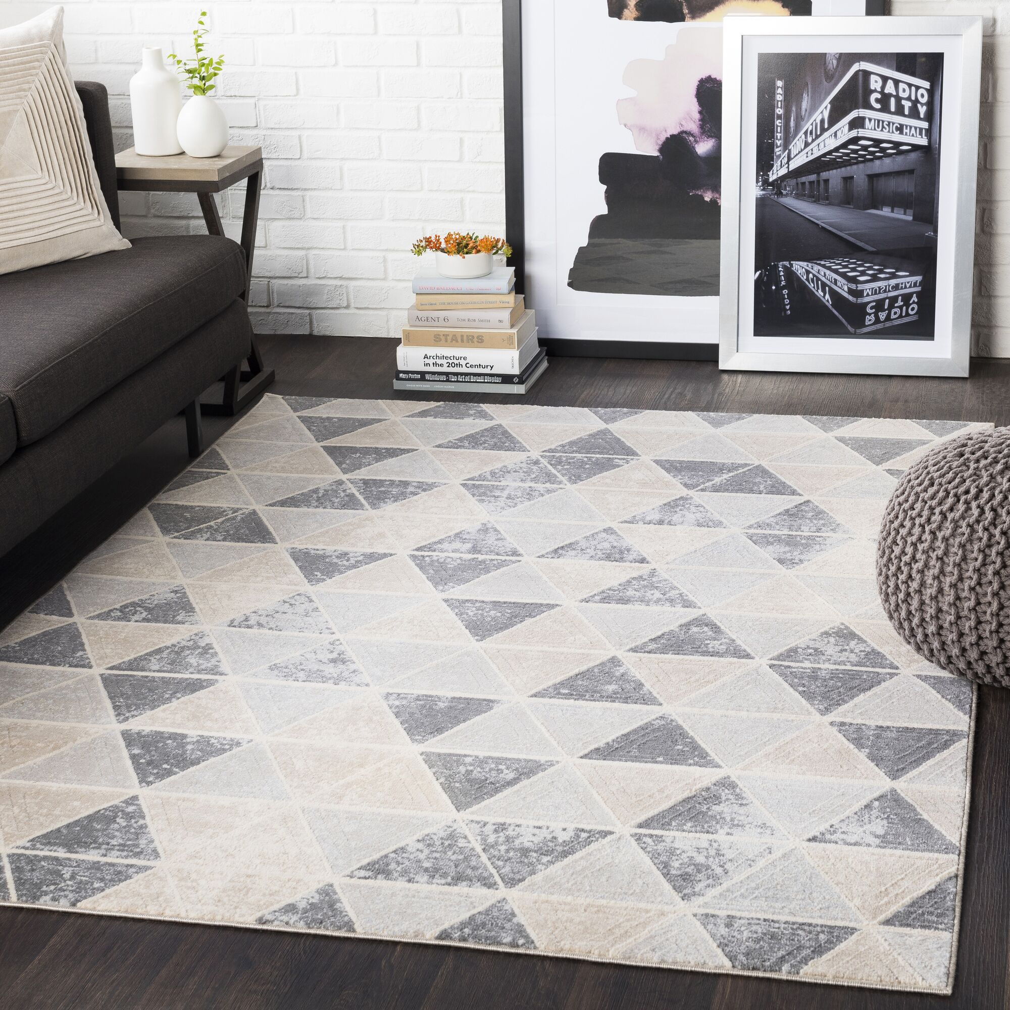 Huerta Geometric Taupe/Light Gray Area Rug Rug Size: Rectangle 3'11