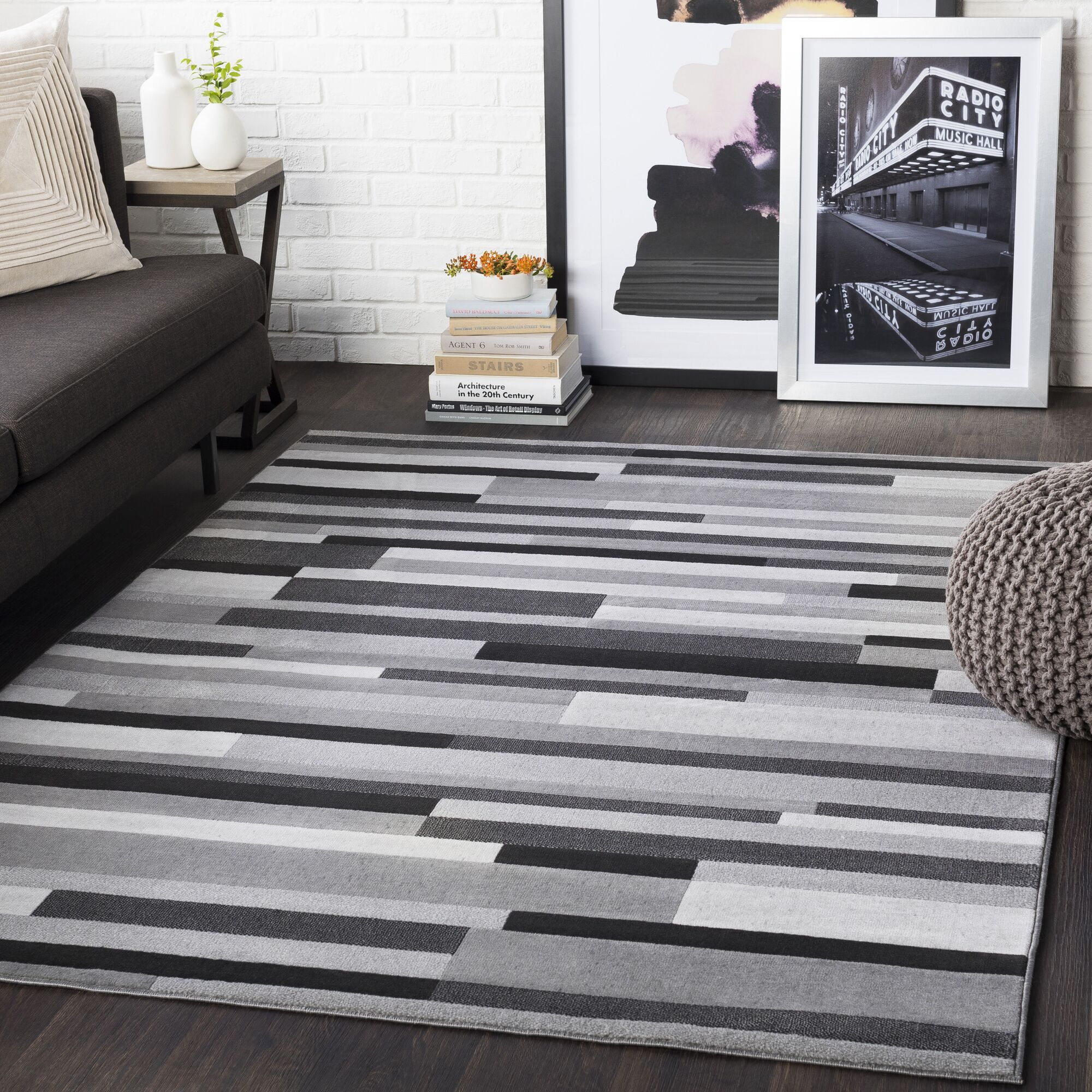 Huerta Striped Light Gray/Taupe Area Rug Rug Size: Rectangle 3'11