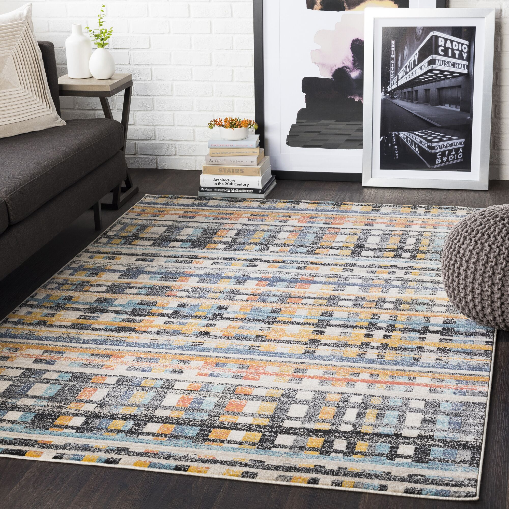 Bahr Distressed Geometric Coral/Mustard Area Rug Rug Size: Rectangle 5'3