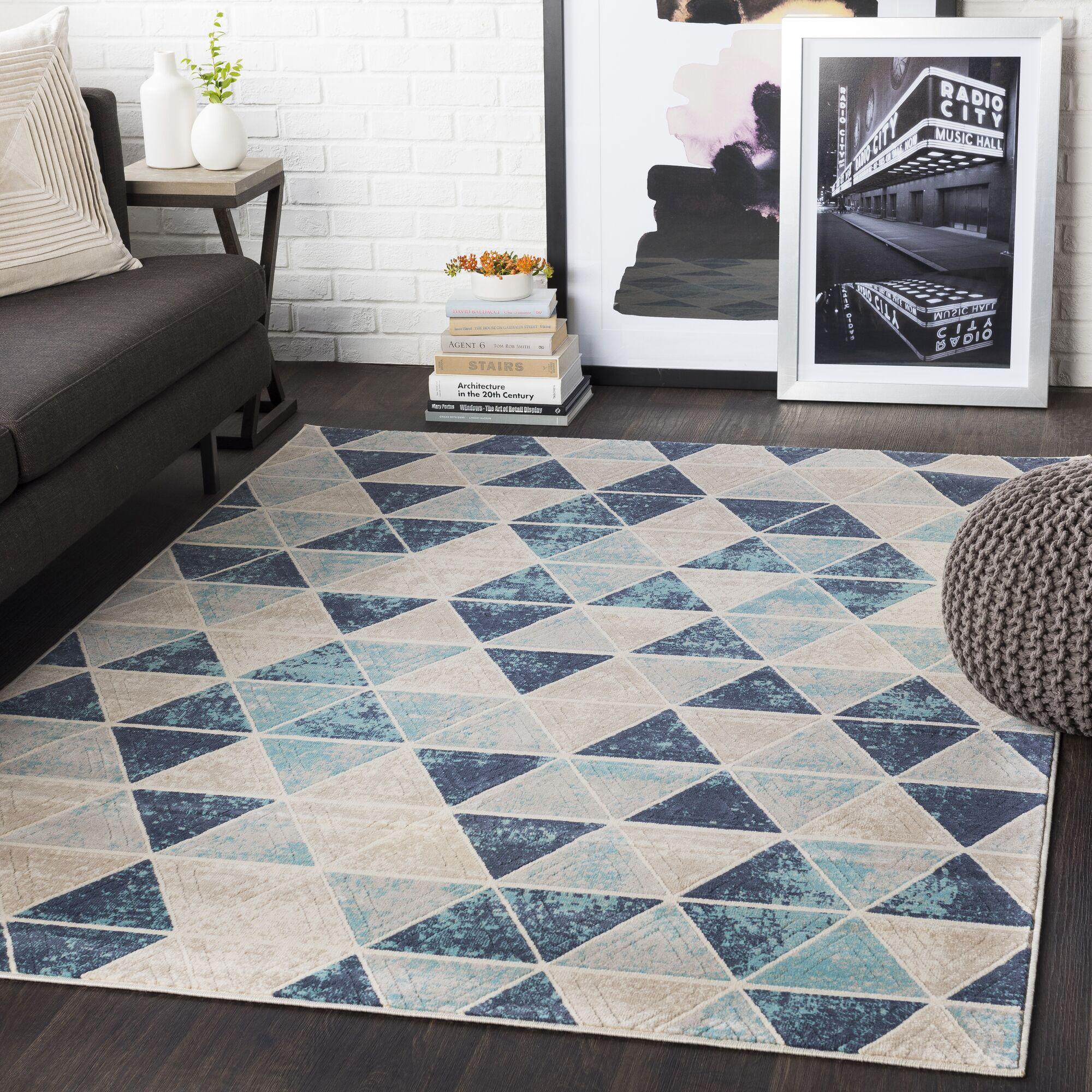 Huerta Geometric Aqua/Charcoal Area Rug Rug Size: Rectangle 3'11
