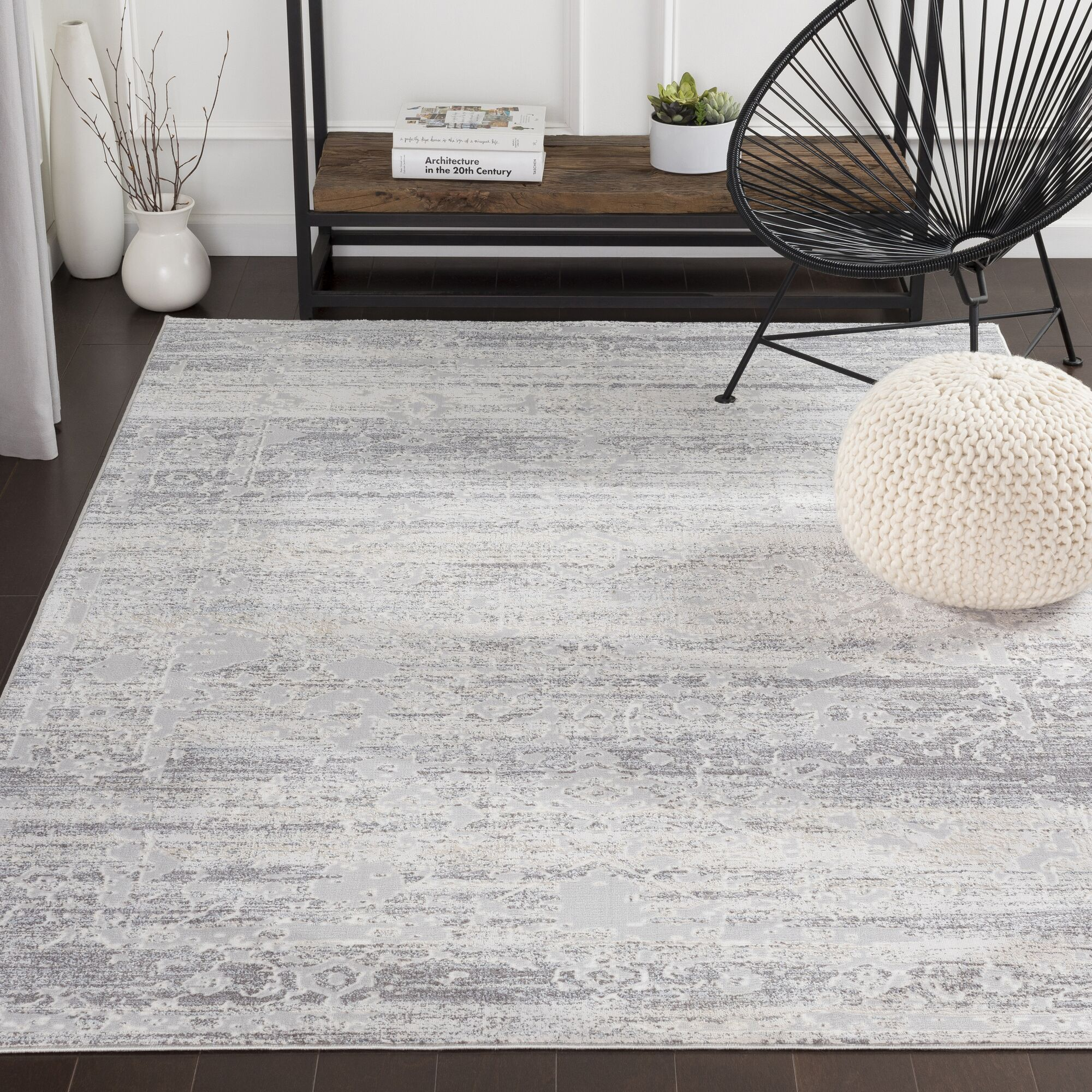 Heger Distressed Silver Gray/White Area Rug Rug Size: Rectangle 9'3