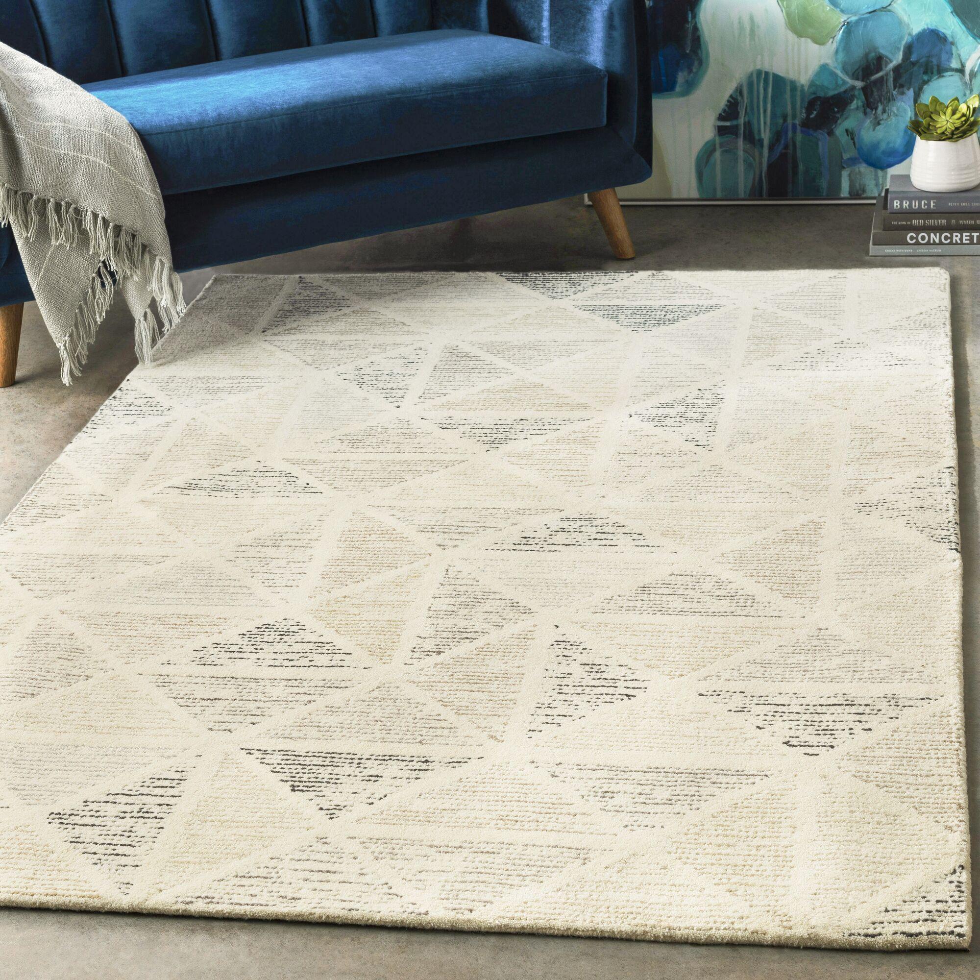 Madero Geometric Handwoven Wool Black/Charcoal Area Rug Rug Size: Rectangle 9' x 12'