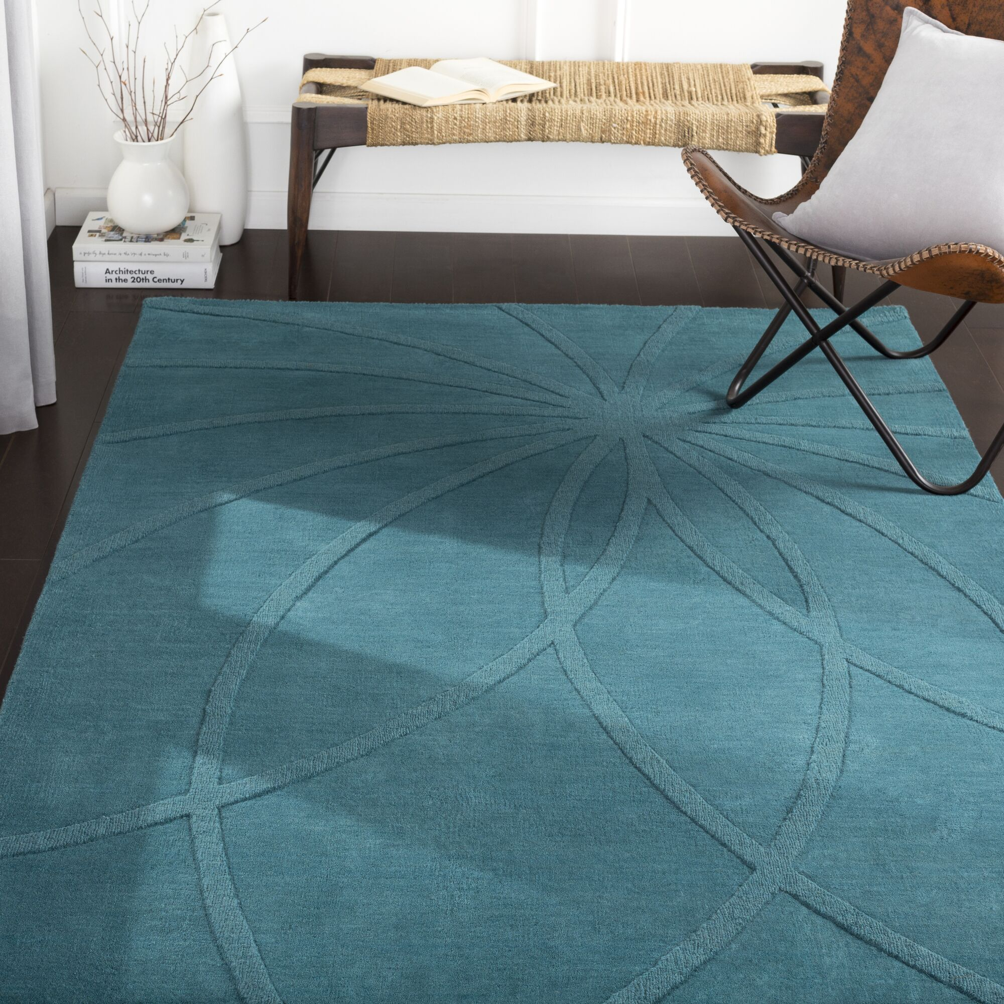Dorthea Handwoven Wool Teal Area Rug Rug Size: Rectangle 2' x 3'
