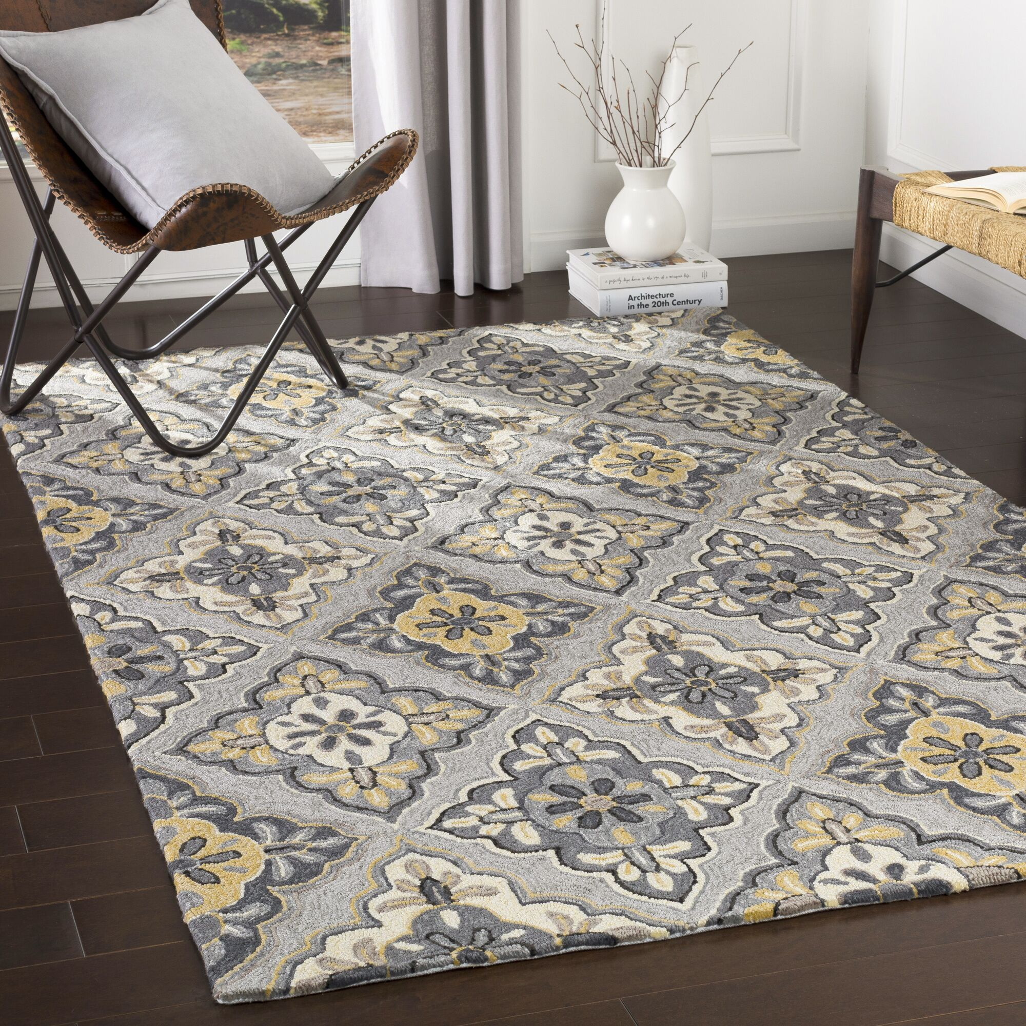 Cynthia Medallion Hand-Looped Black/Charcoal Indoor / Outdoor Area Rug Rug Size: Rectangle 9' x 12'