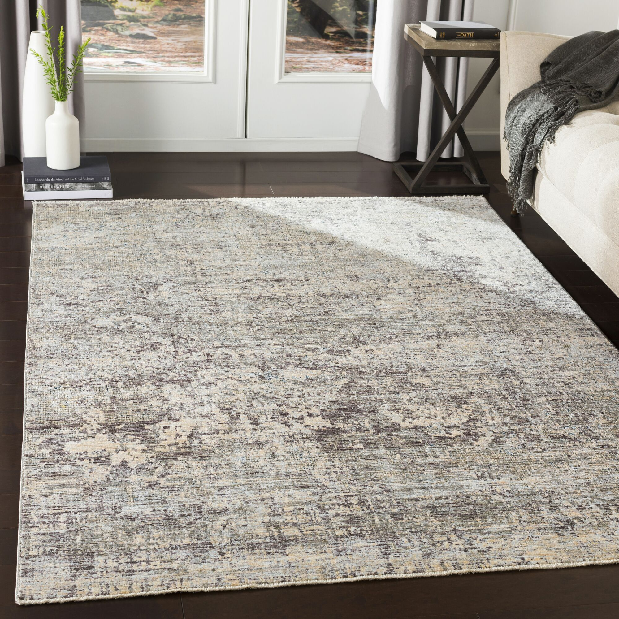 Mckeel Distressed Abstract Pale Blue/Gray Area Rug Rug Size: Rectangle 9' x 13'1