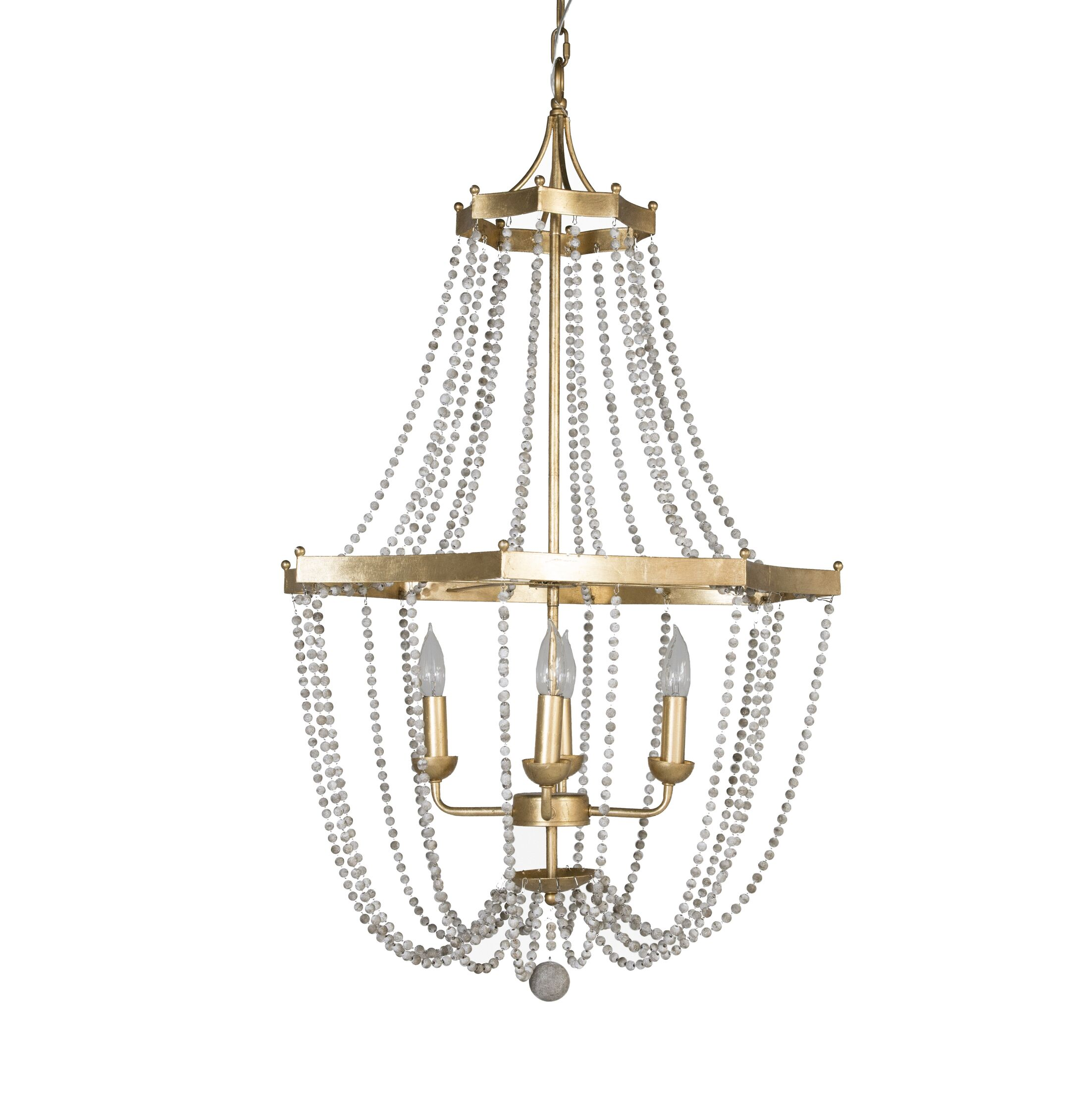 The Whitney 4 Light Candle Chandelier is a medium sized empire chandelier with a shiny gold leaf finish and antiqued white painted round wooden beads. The chandelier offers a star shaped silhouette with top and bottom metal rings. Features: -Number of...