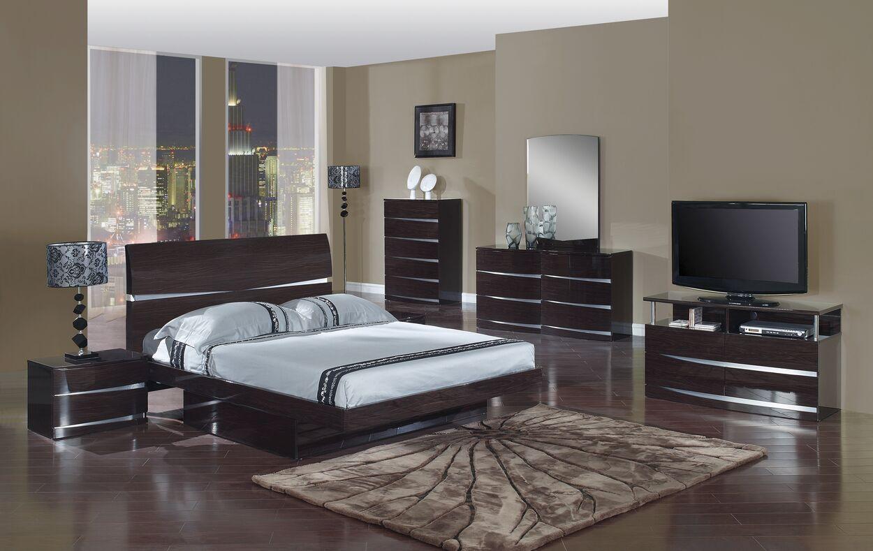 Emely Platform 4 Piece Bedroom Set Color: Wenge, Bed Size: King