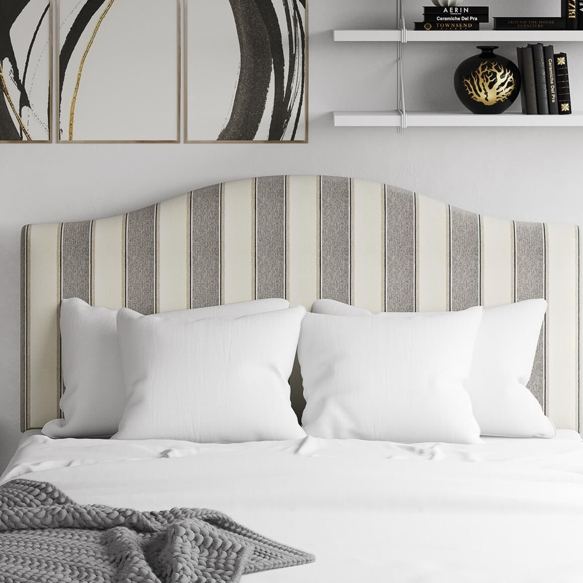 Joslyn Striped Upholstered Panel Headboard Color: Gray