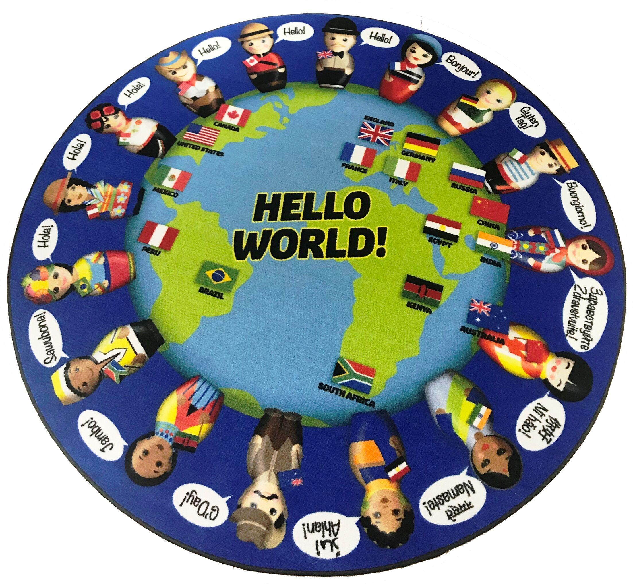 Nieto World Greeting Children's Blue/Green Area Rug Rug Size: Round 12'
