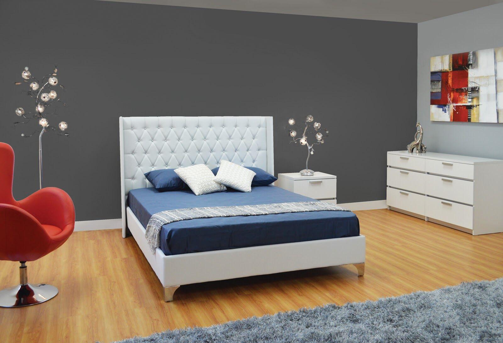 Burntwood Upholstered Platform Bed Color: White