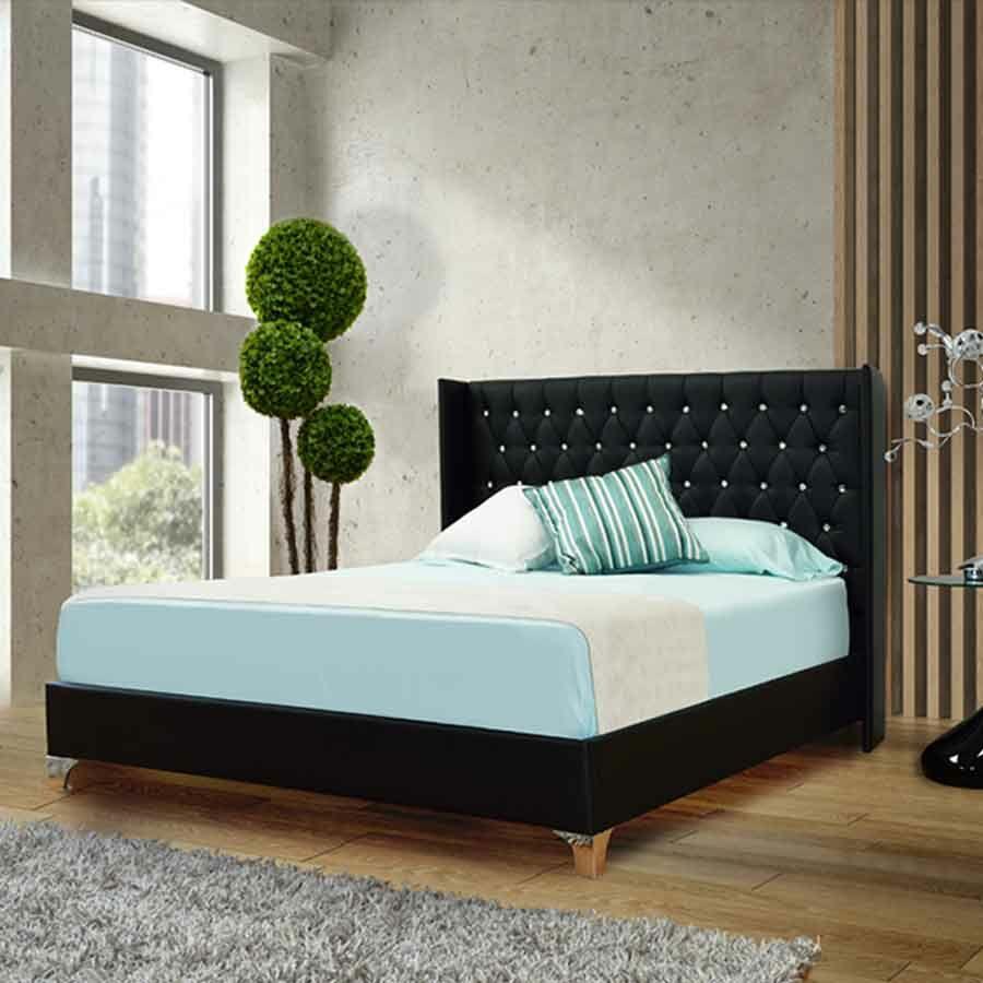 Burntwood Upholstered Platform Bed Color: Black