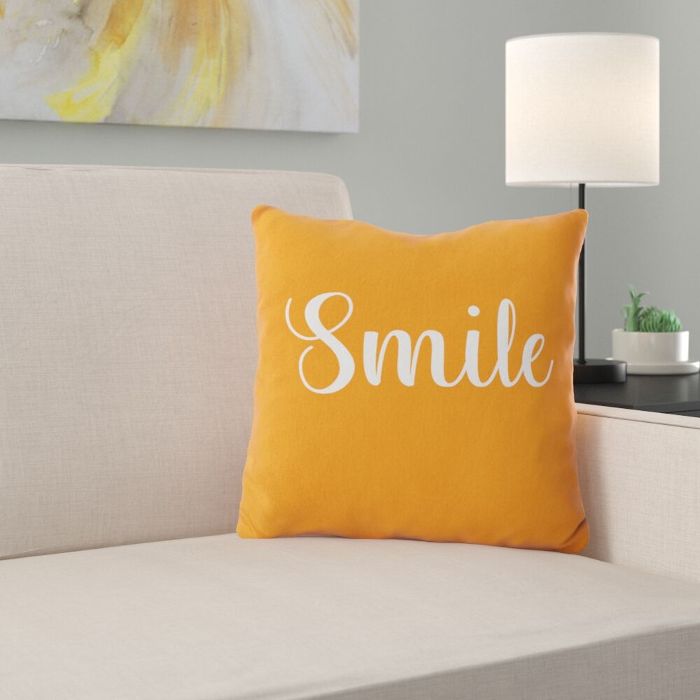 Maguire Smile Throw Pillow Color: Orange, Size: 18