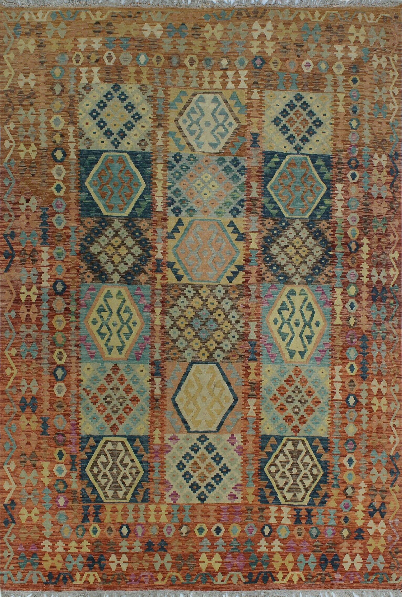 Corda Hand-Knotted Wool Blue/Brown Area Rug