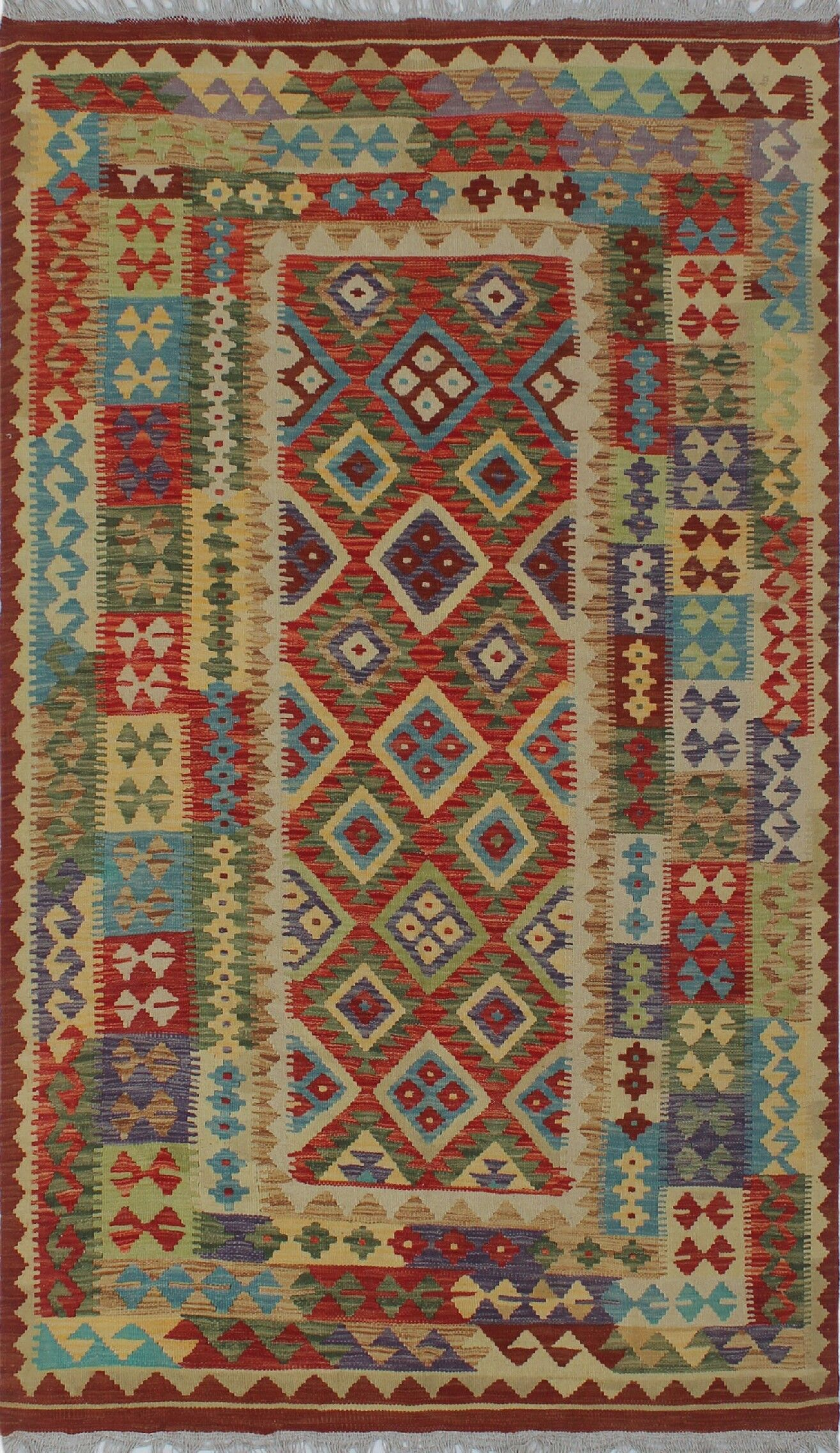 Corda Hand-Knotted Wool Red/Green Area Rug