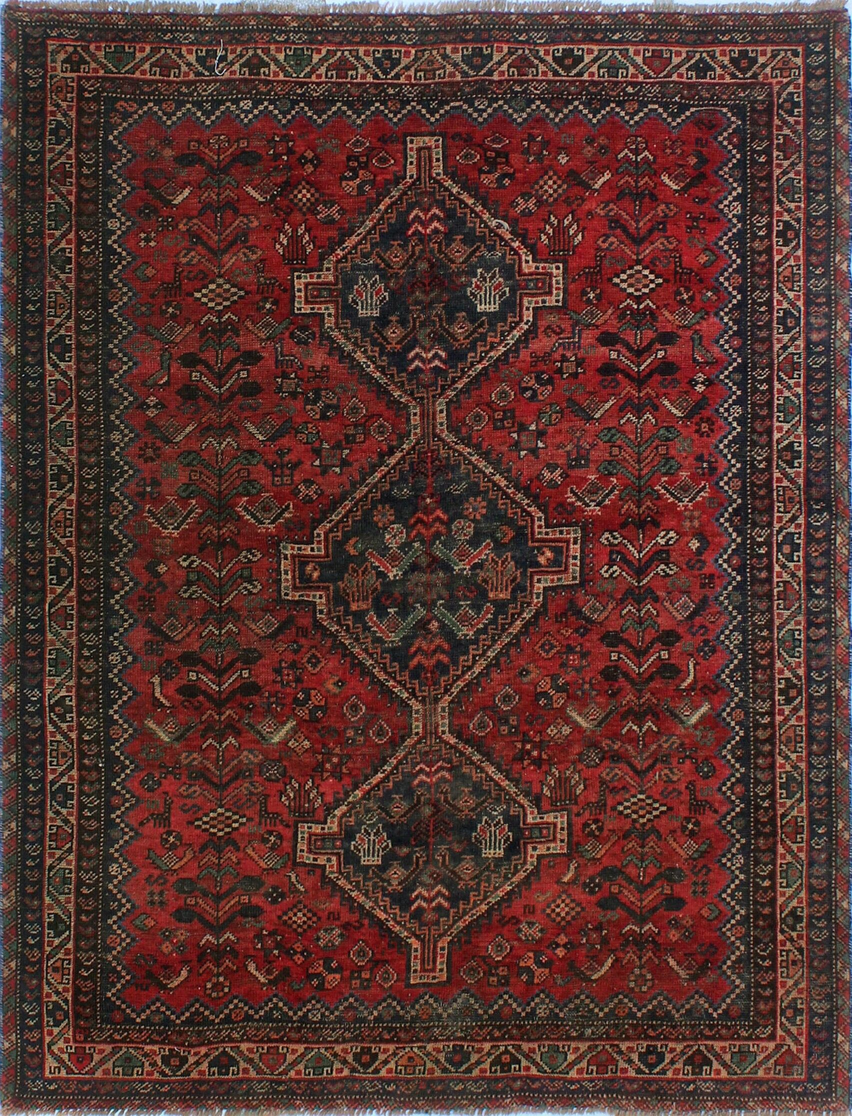One-Of-A-Kind Brook Hand-Knotted Wool Black/Red Area Rug