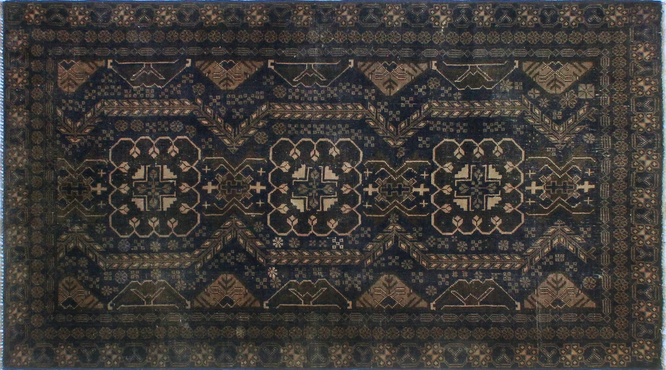 One-Of-A-Kind Brook Hand-Knotted Wool Blue Area Rug