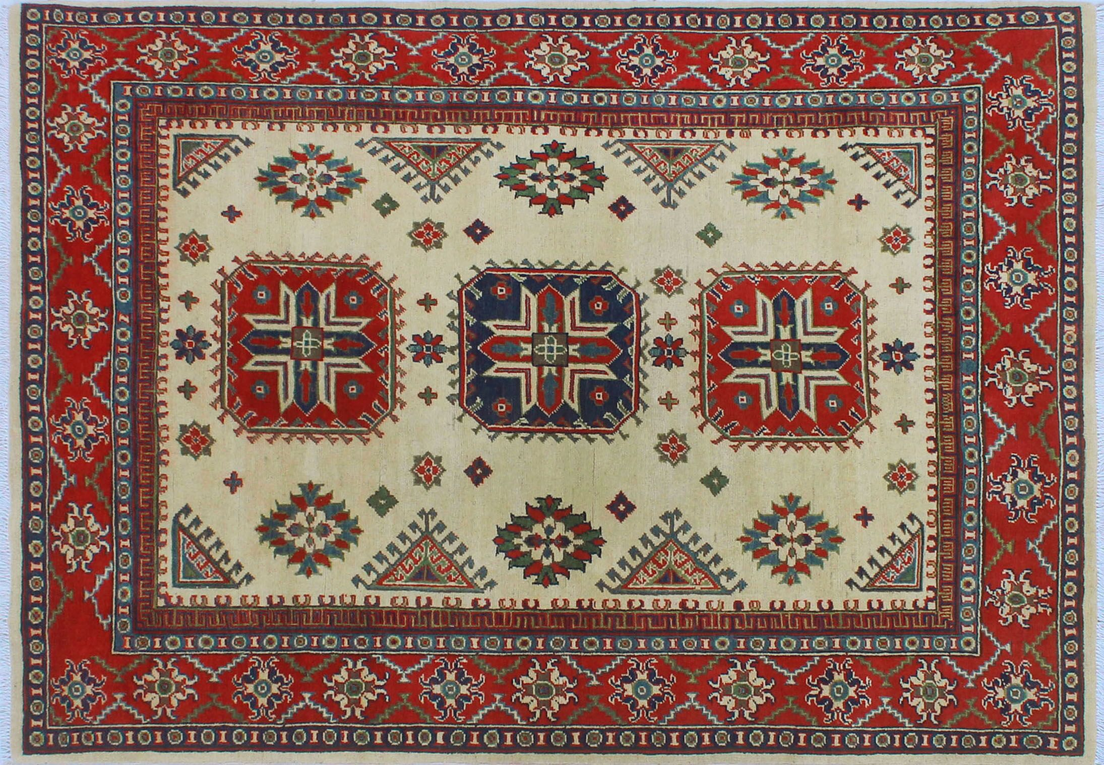 Sharpe Hand-Knotted Wool Red/Cream Area Rug