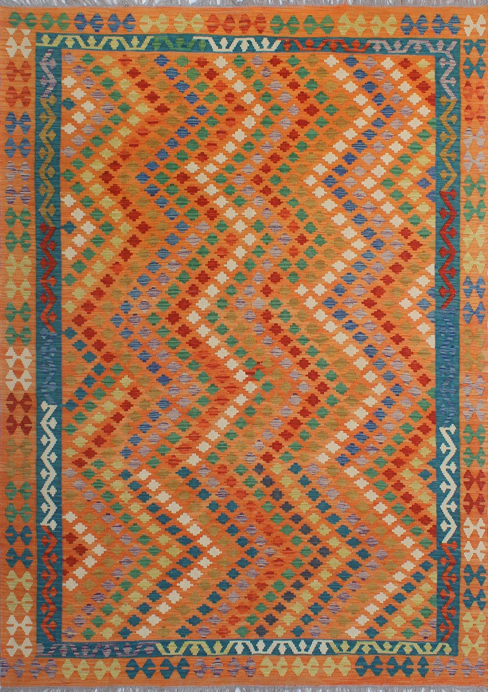 Corda Hand-Knotted Wool Orange Area Rug