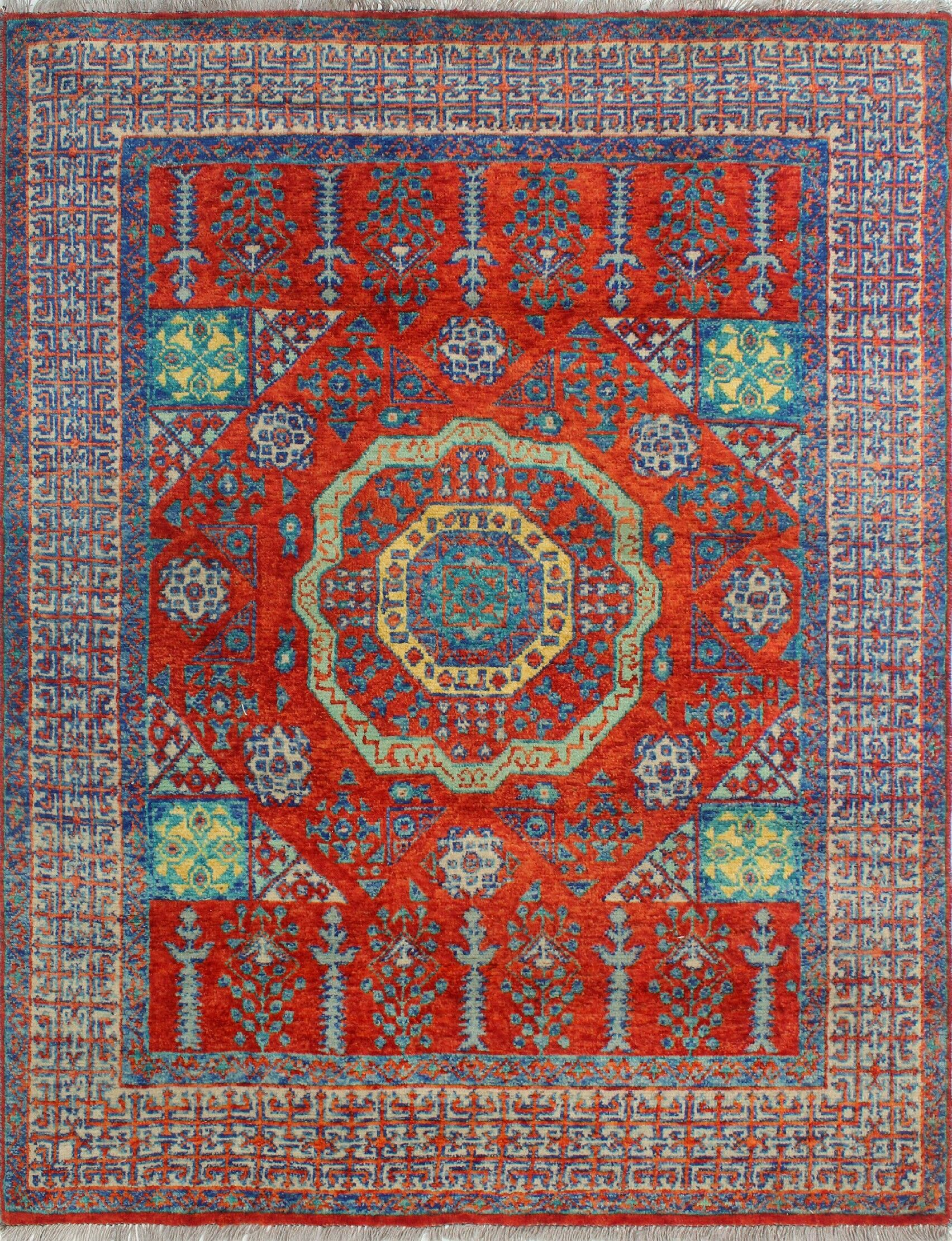 Oneybrook Hand-Knotted Wool Red Area Rug
