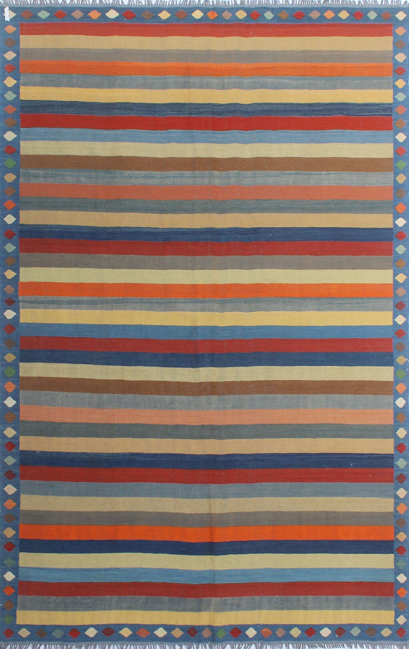Dickie Hand-Knotted Wool Blue/Cream Area Rug