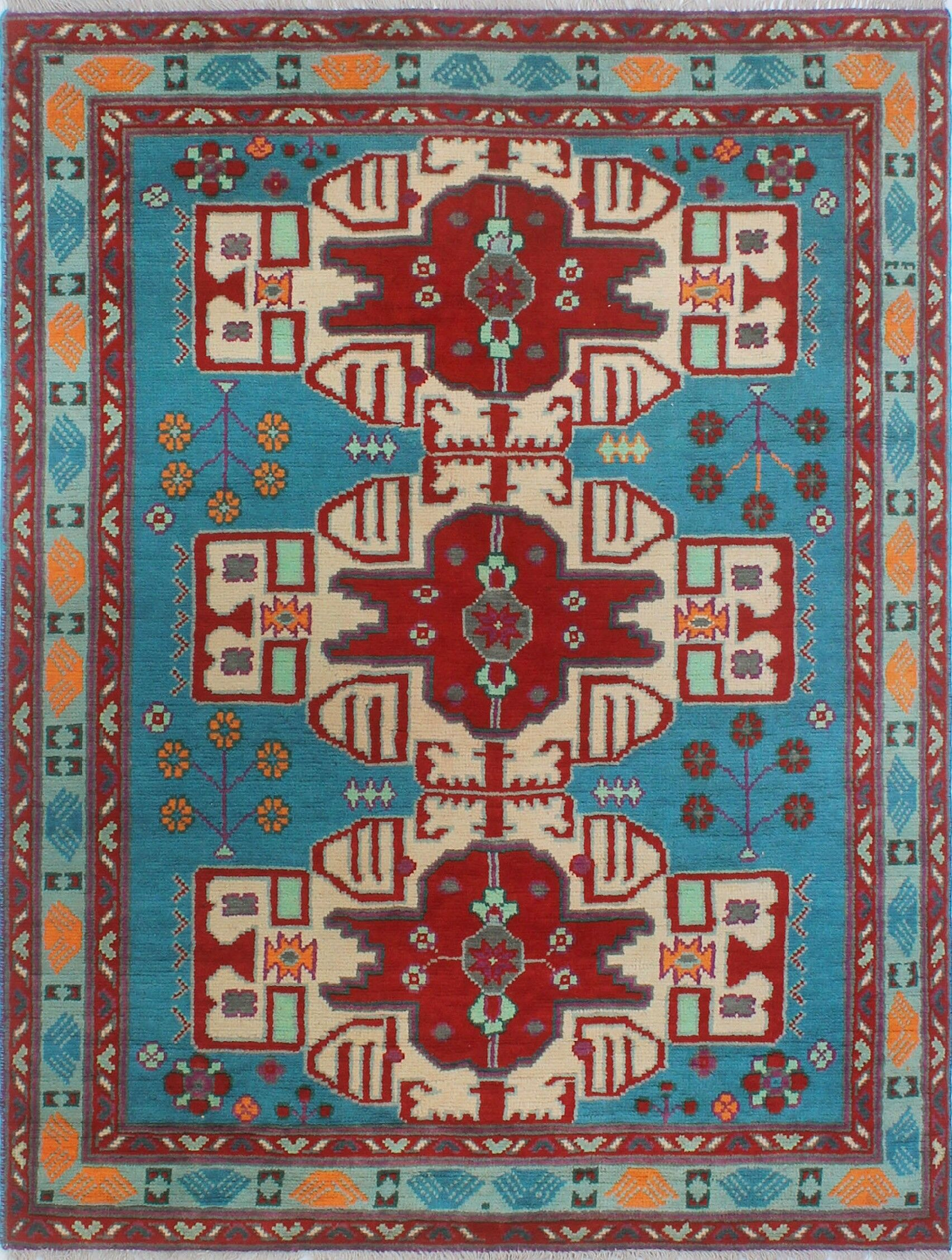 Oneybrook Hand-Knotted Wool Blue Area Rug