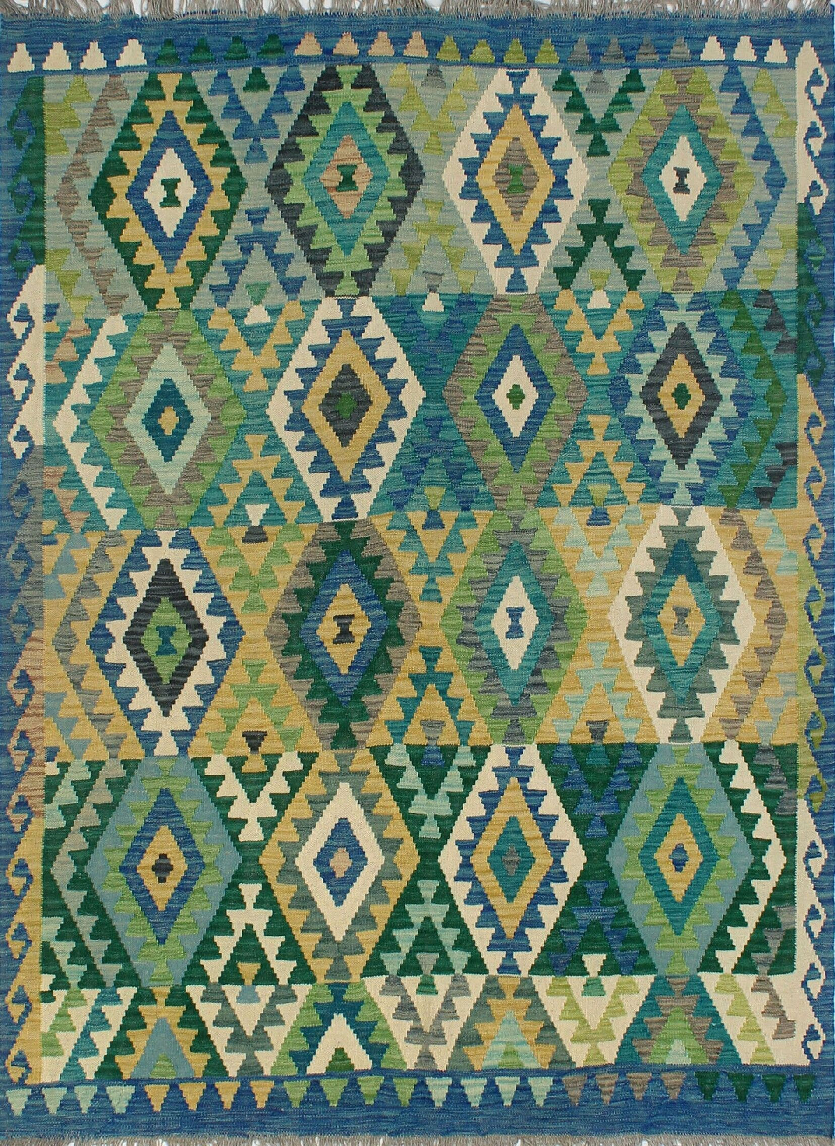 Corda Hand-Knotted Wool Green/Blue Area Rug