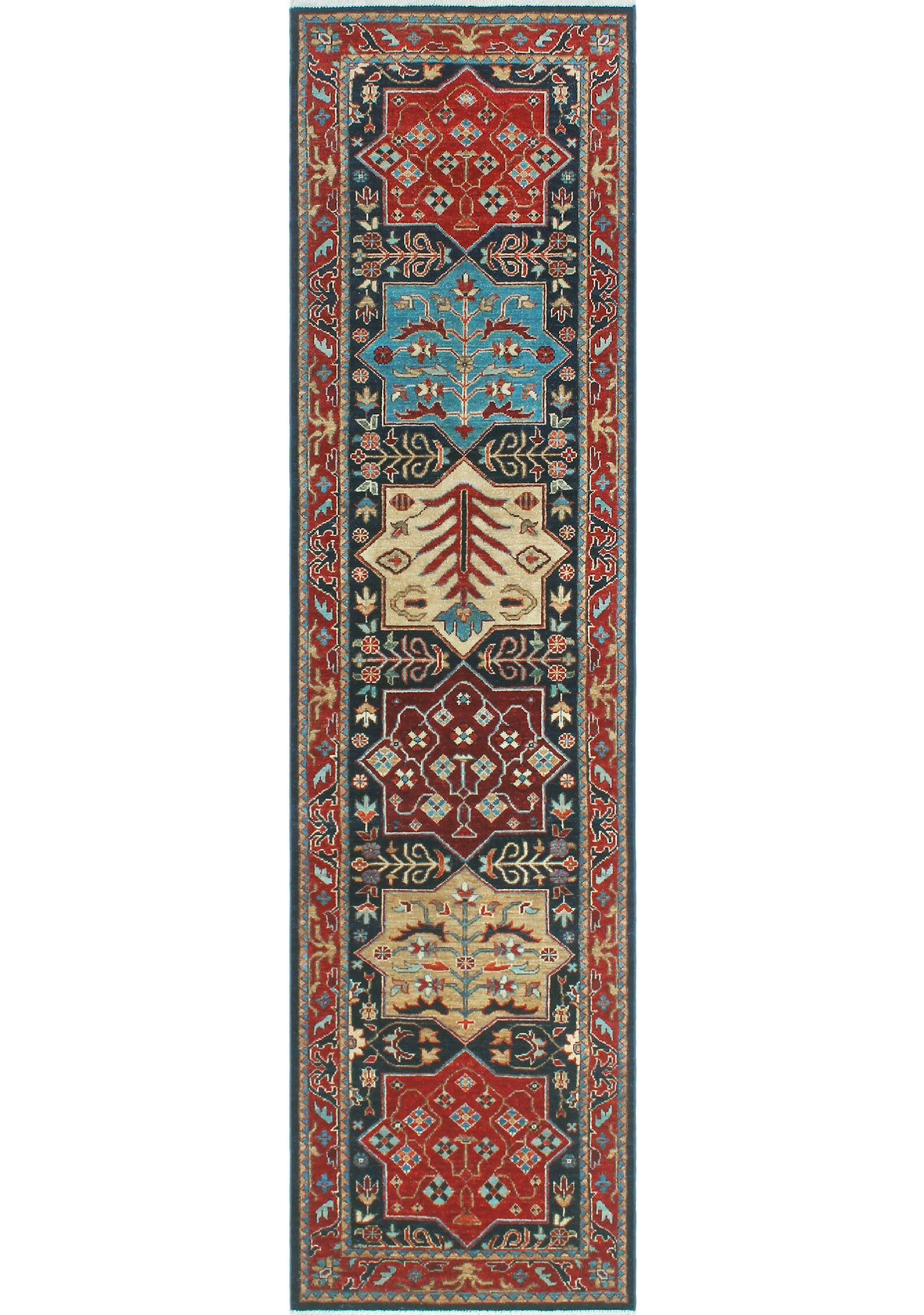 Woodmoor Hand-Knotted Wool Red/Black Area Rug Rug Size: Runner 2'6